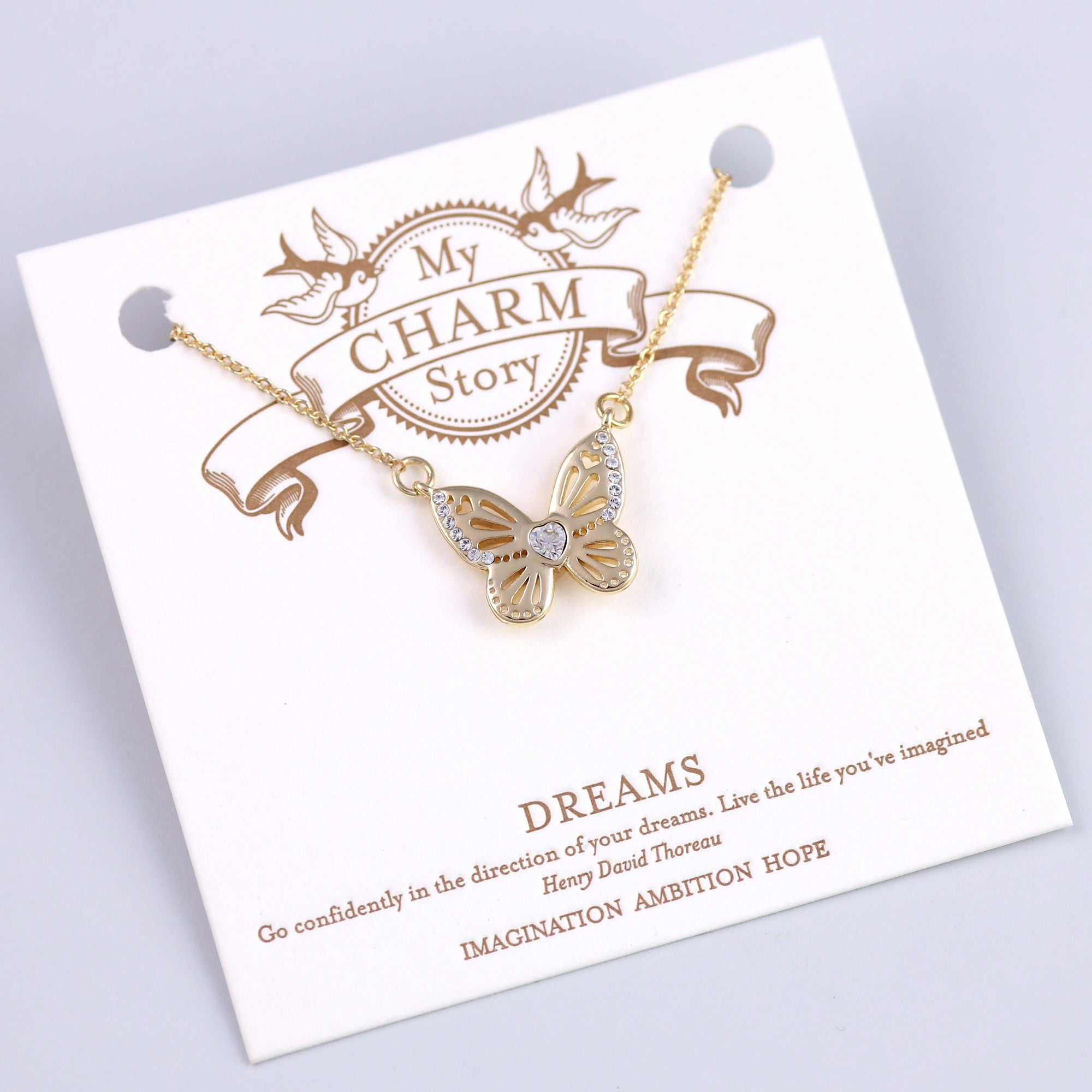 Gold Dreams Butterfly Necklace