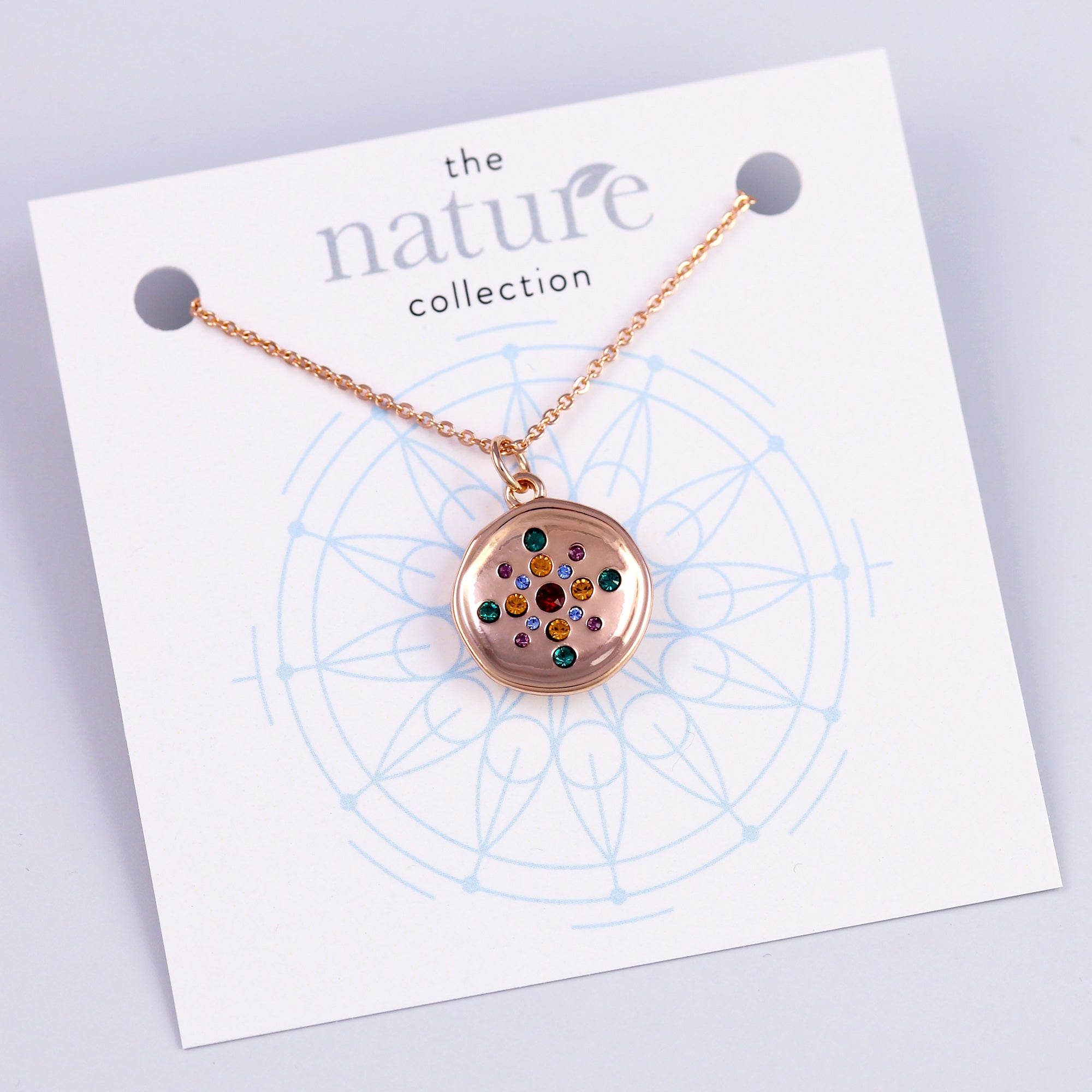Rose Gold Rainbow Circle Necklace Nature Collection