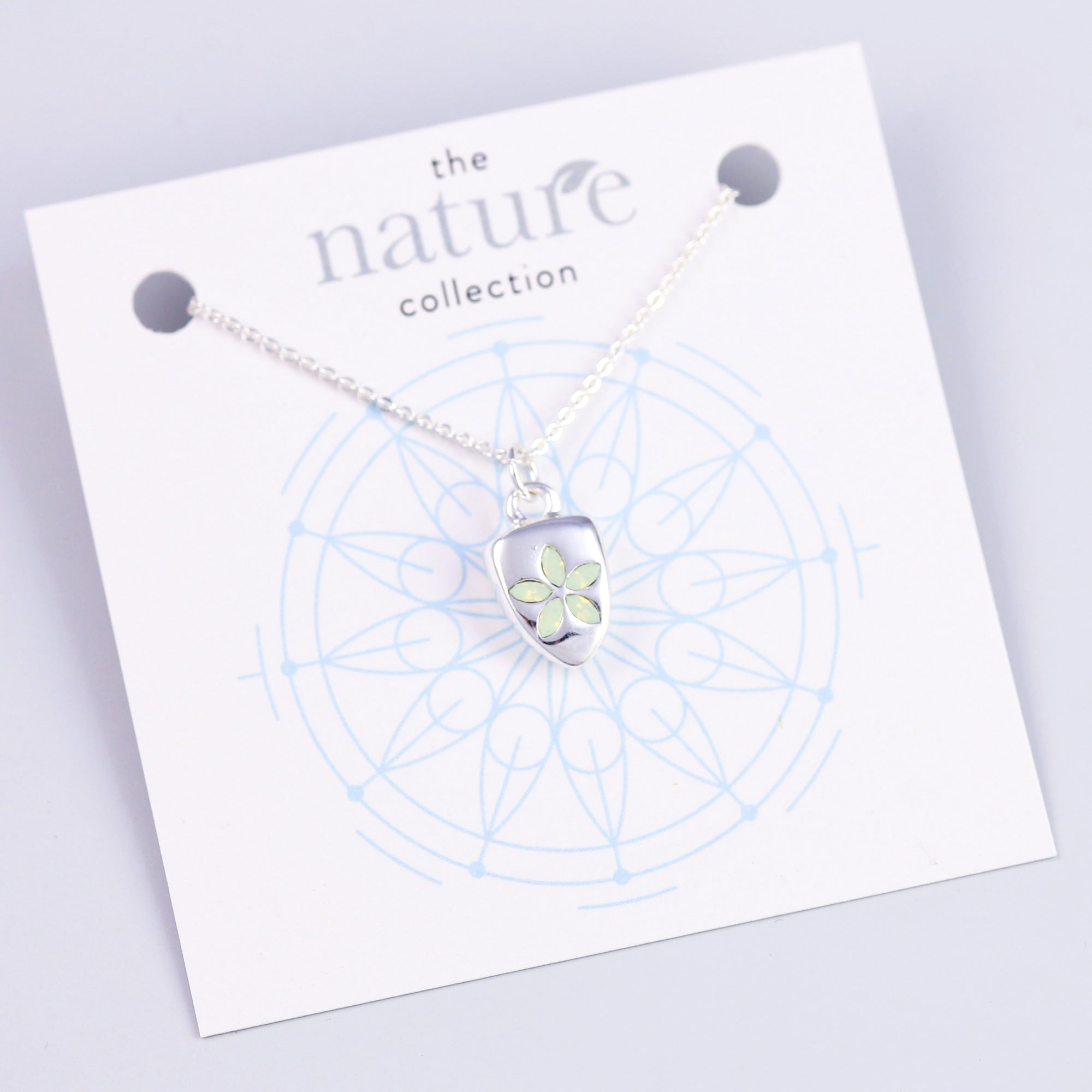 Silver Green Flower Necklace Nature Collection