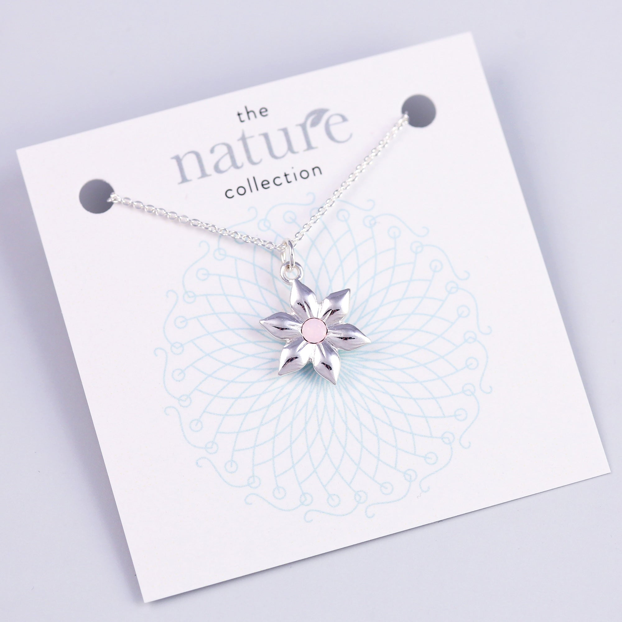 Silver Pink Flower Necklace Nature Collection