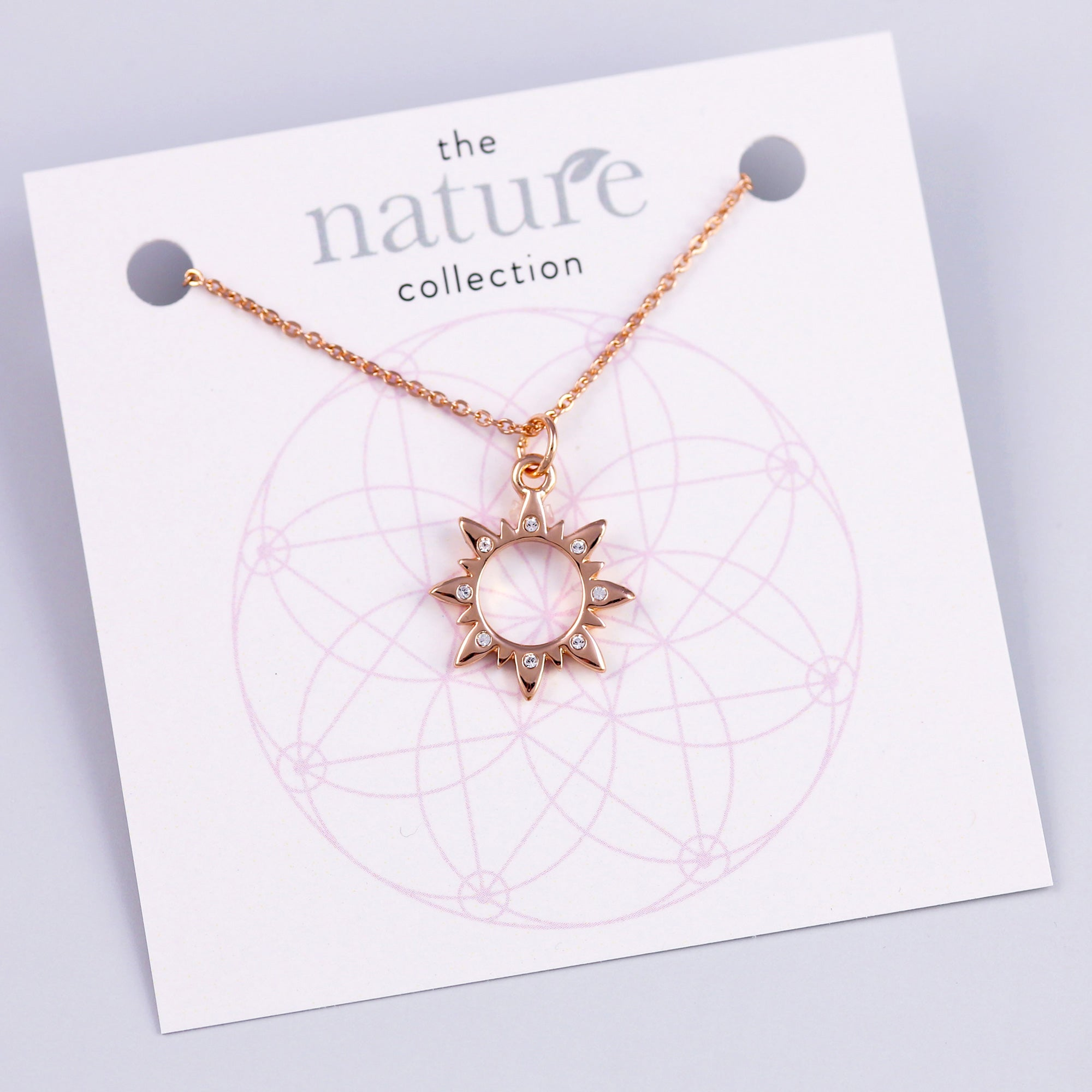 Rose Gold Sun Necklace Nature Collection