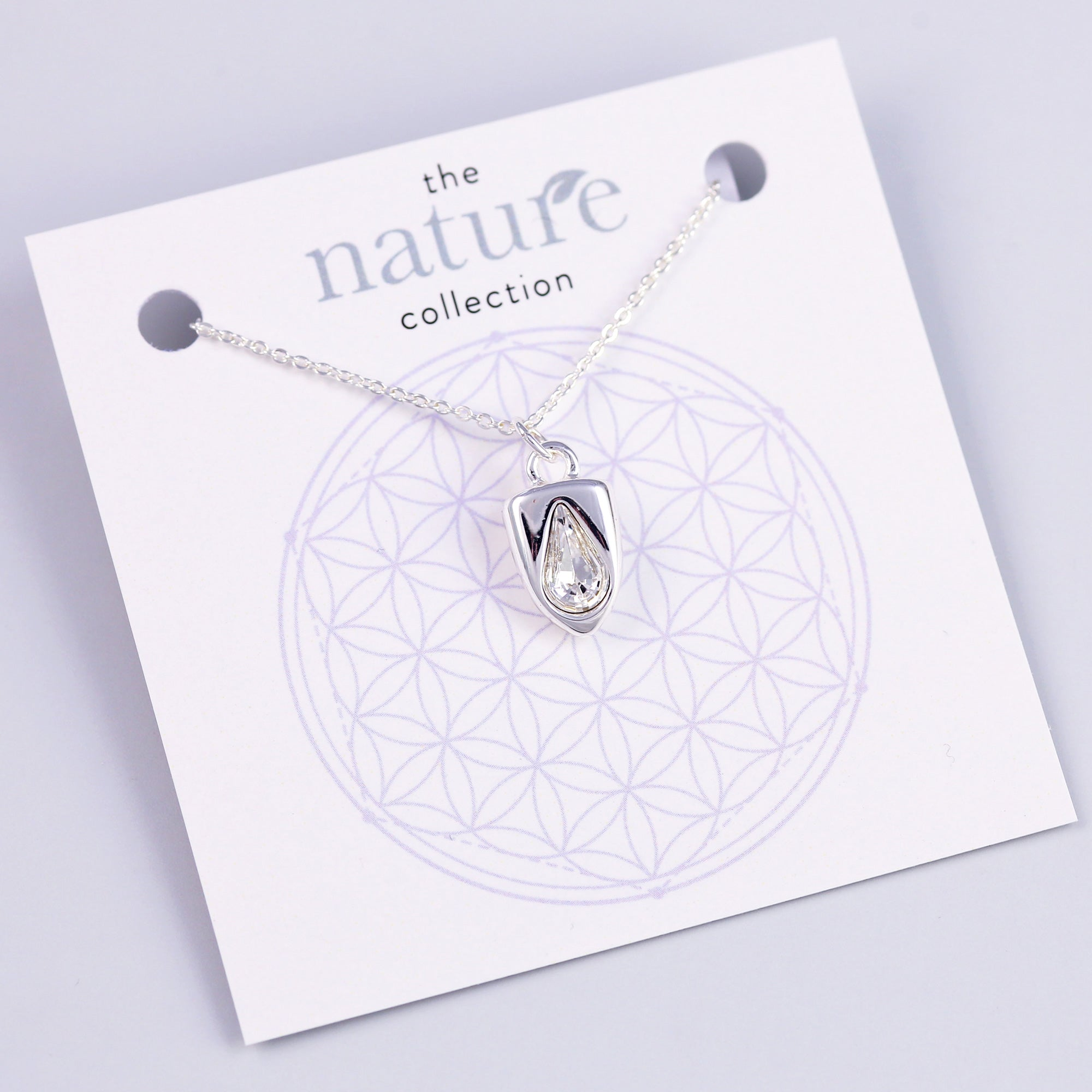 Silver Rain Drop Necklace Nature Collection