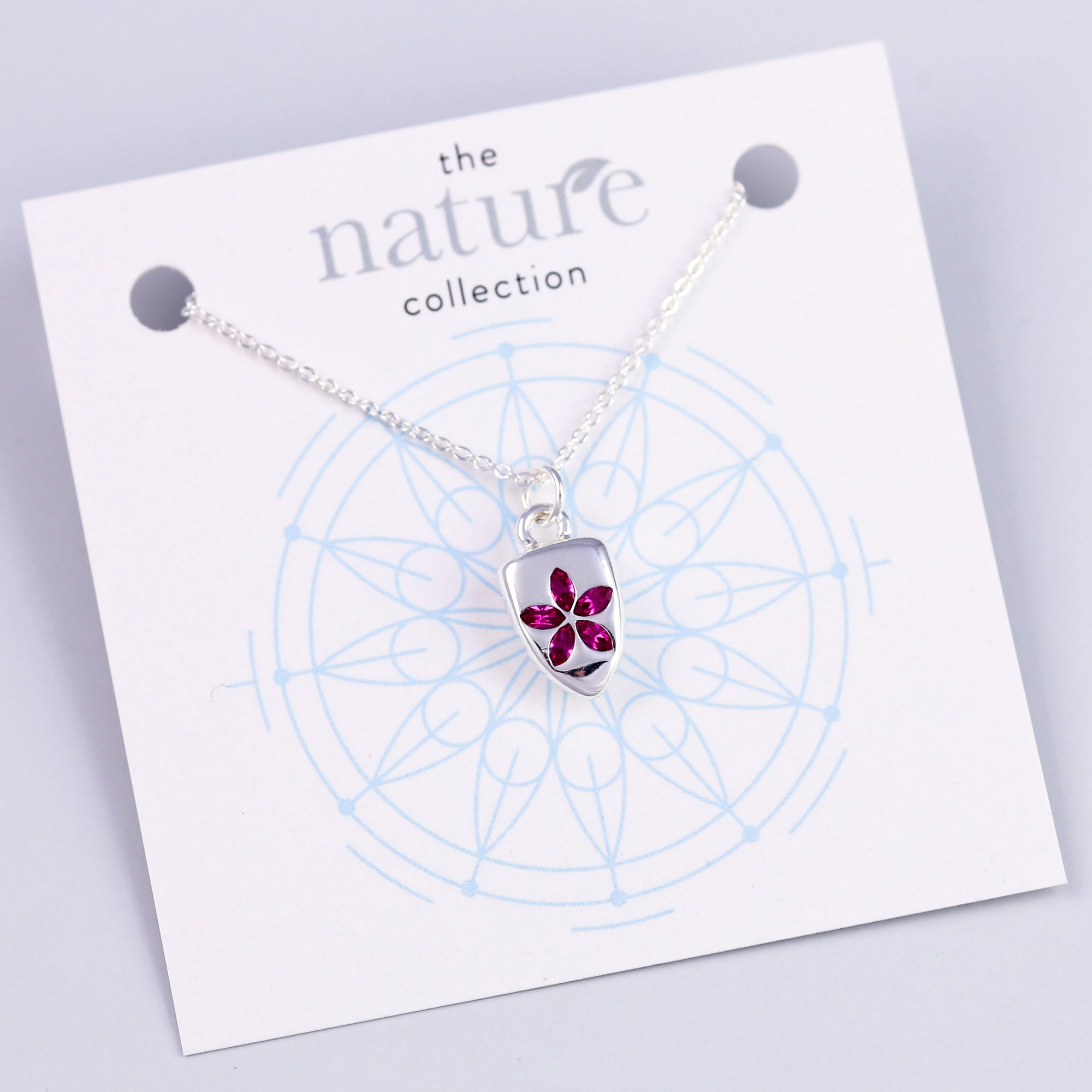 Silver Pink Flower Shield Necklace Nature Collection