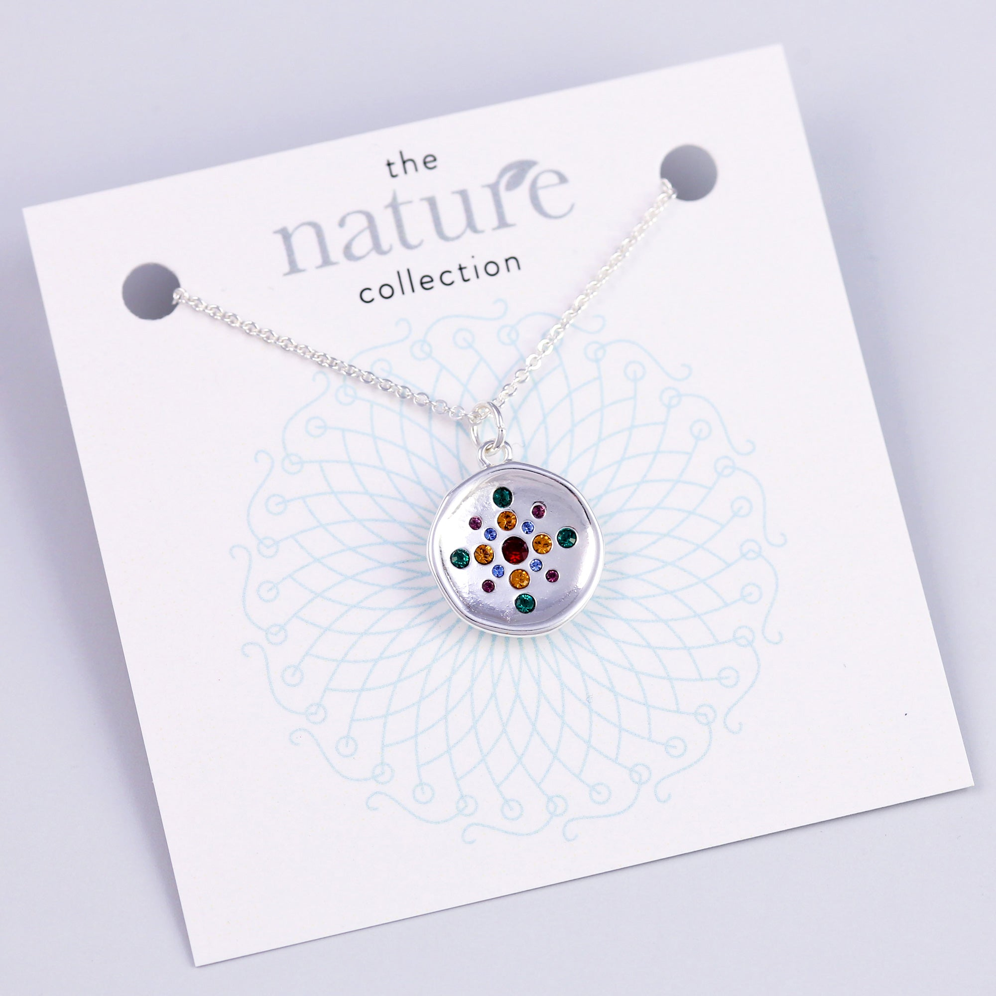Silver Rainbow Circle Necklace Nature Collection