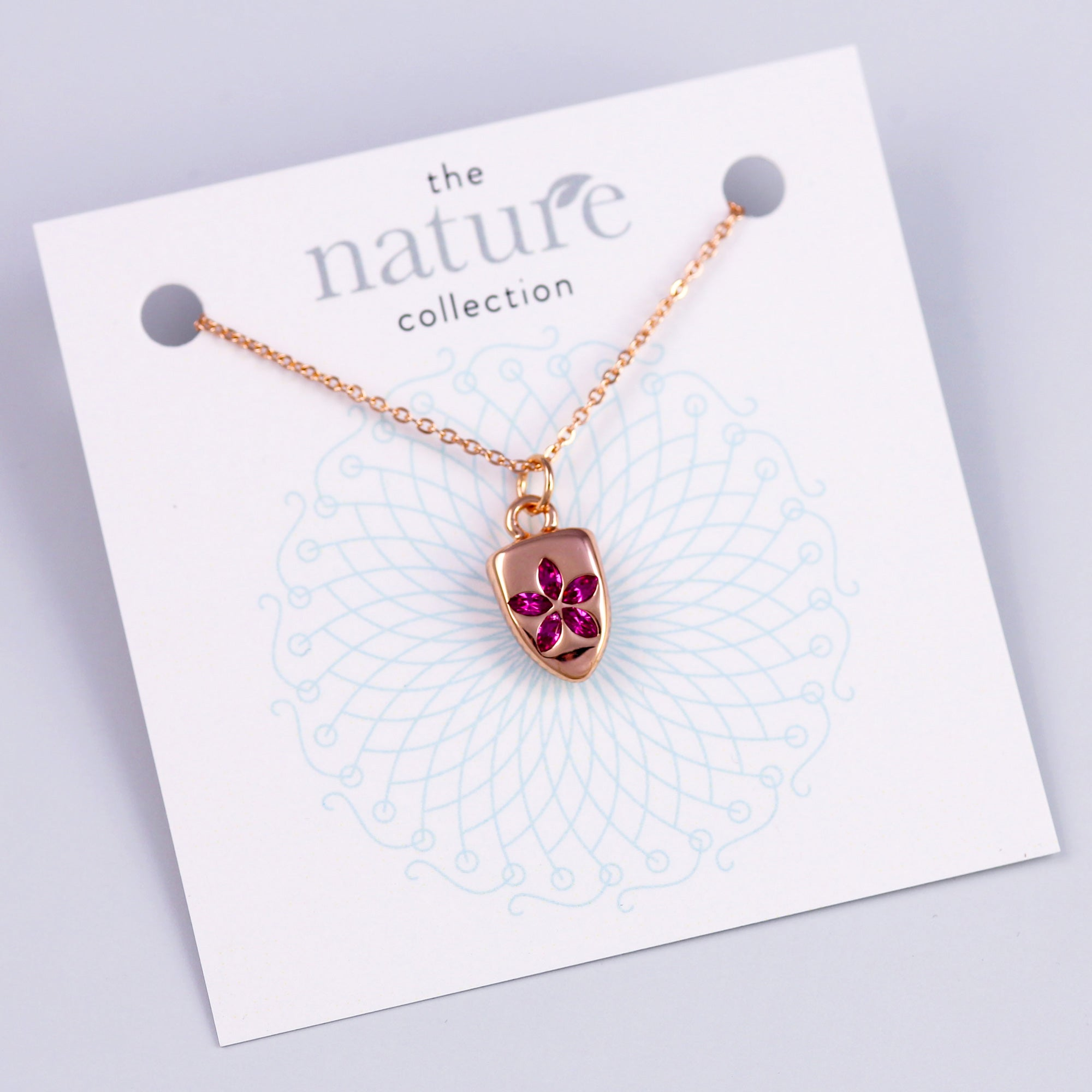 Rose Gold Pink Flower Necklace Nature Collection