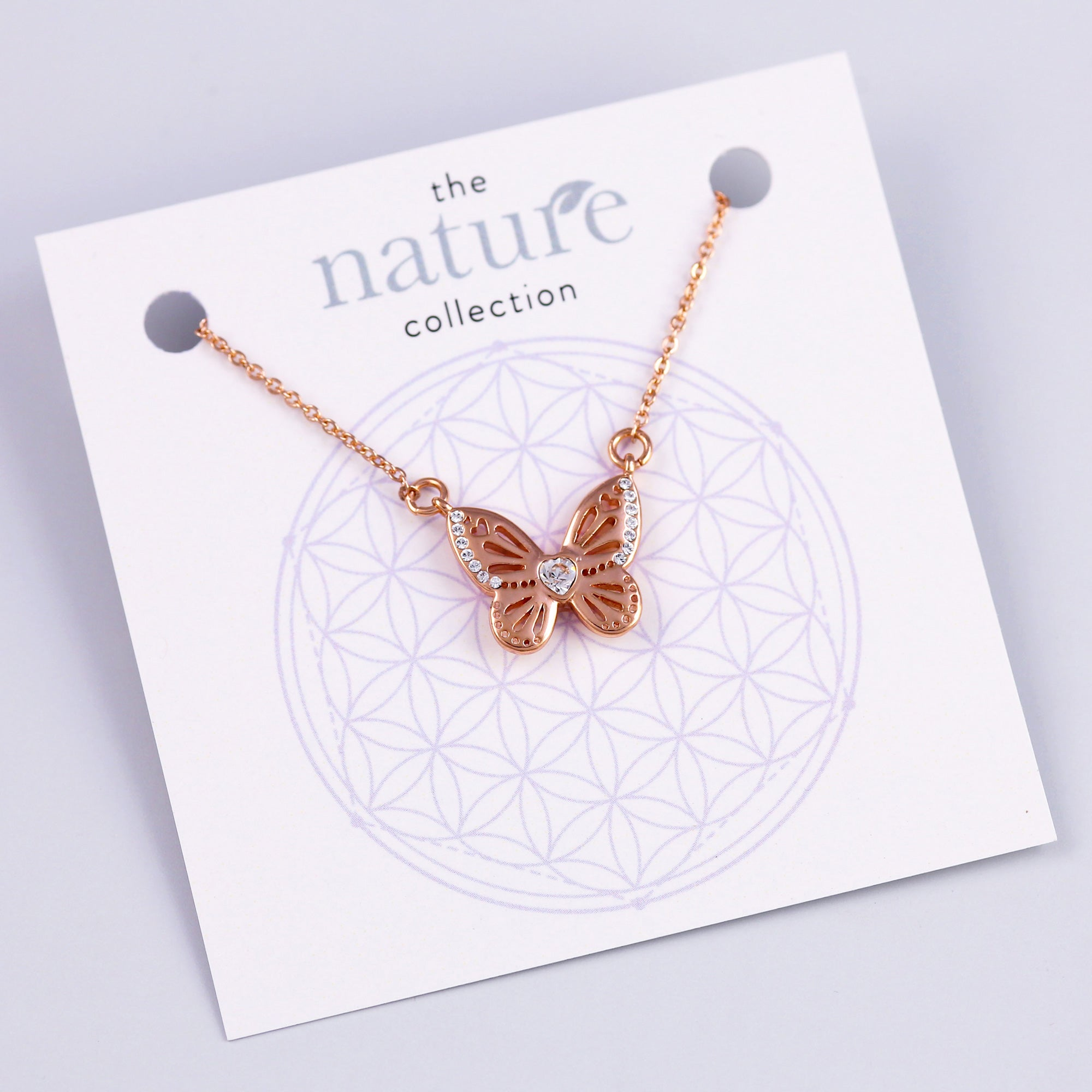 Rose Gold Butterfly Necklace Nature Collection
