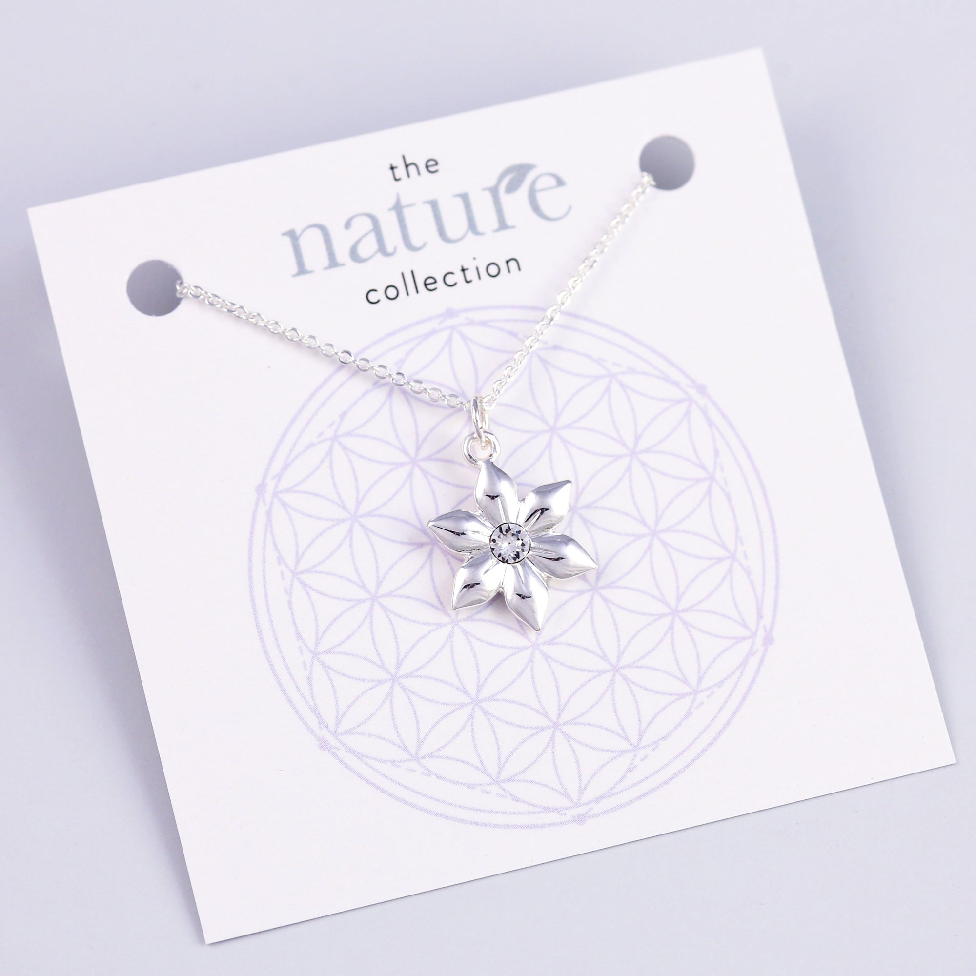 Silver Flower Necklace Nature Collection