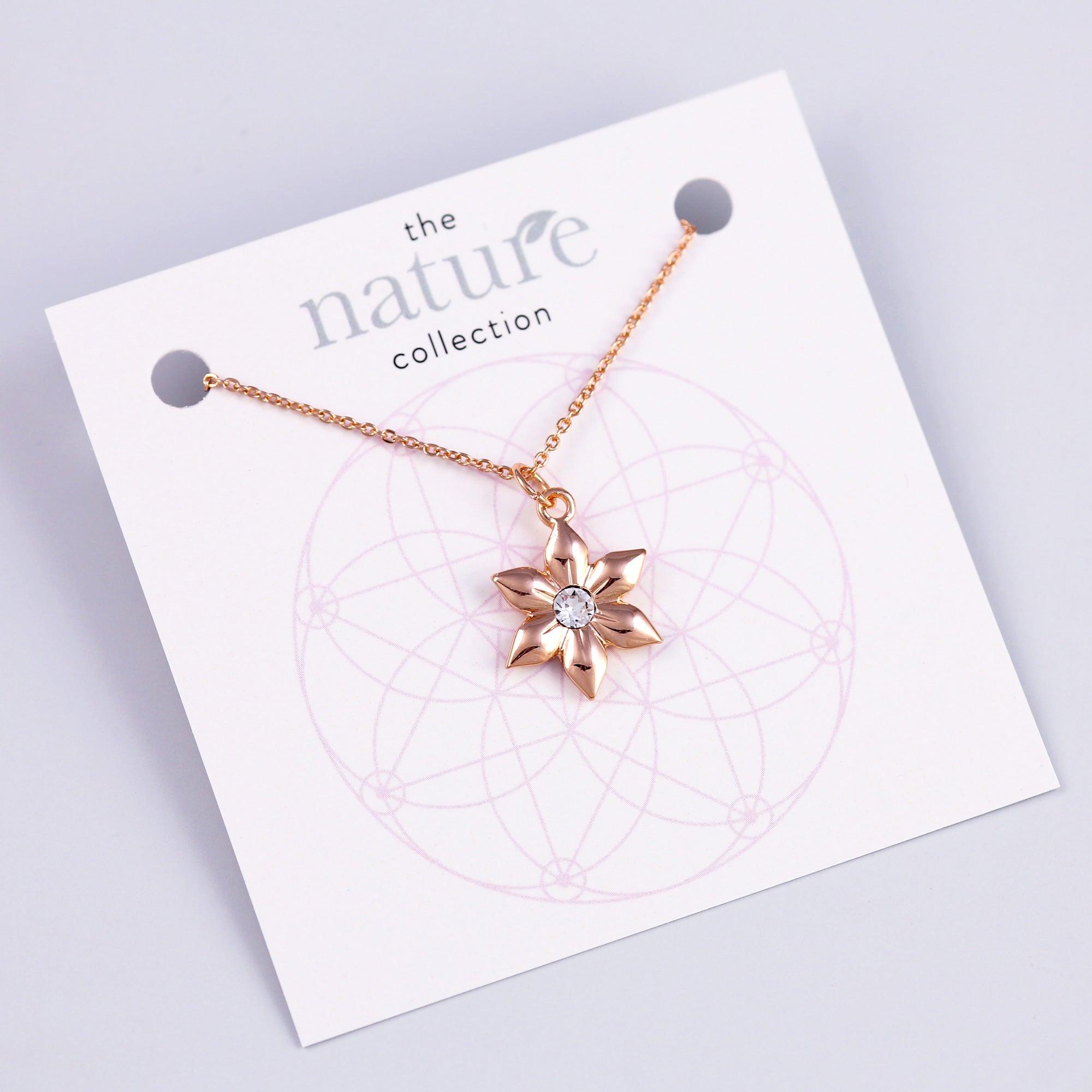 Rose Gold Flower Necklace Nature Collection