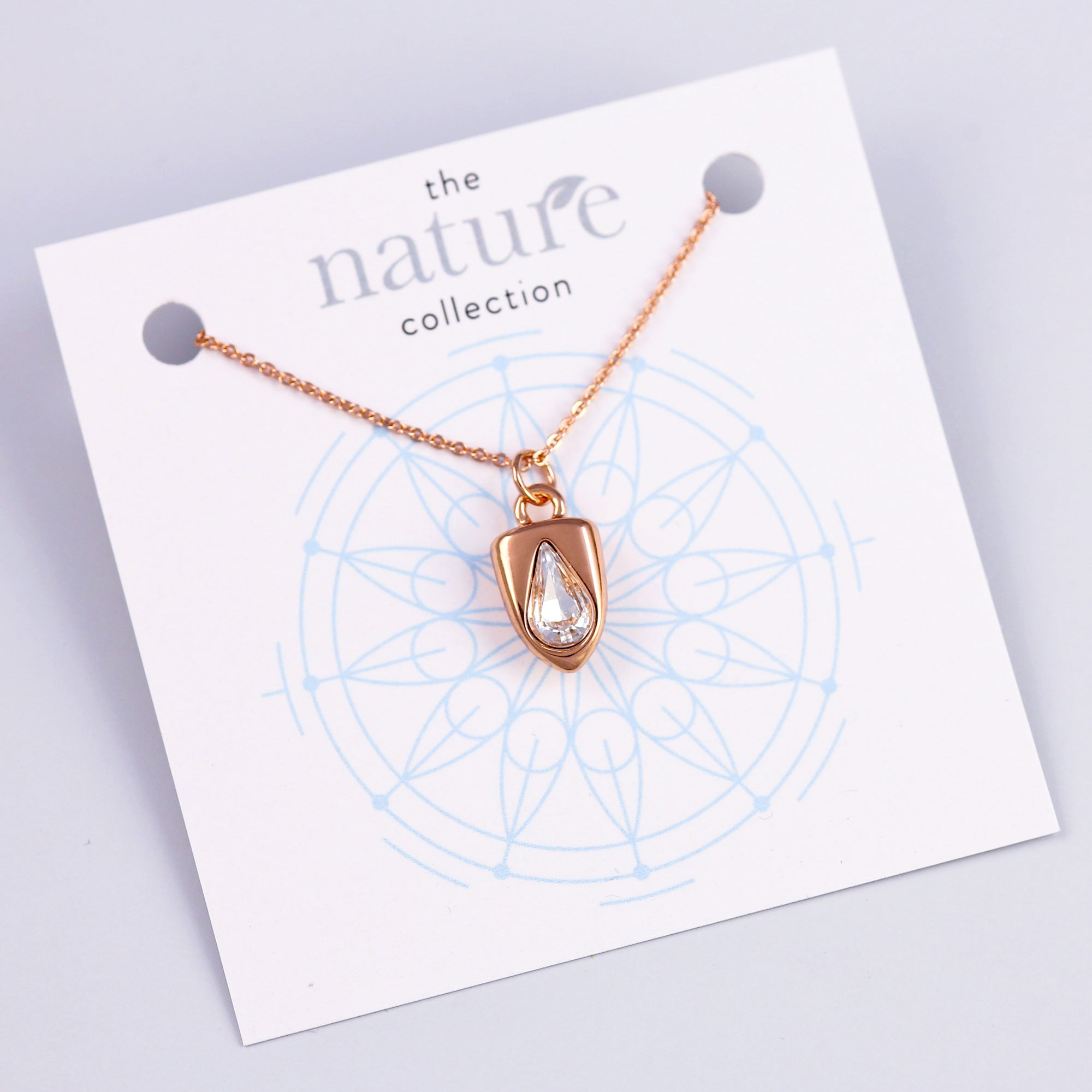 Rose Gold Rain Drop Necklace Nature Collection