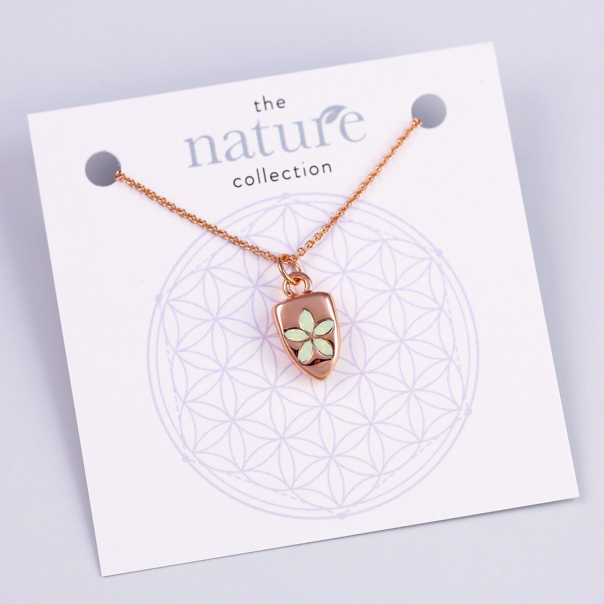 Rose Gold Green Flower Necklace Nature Collection