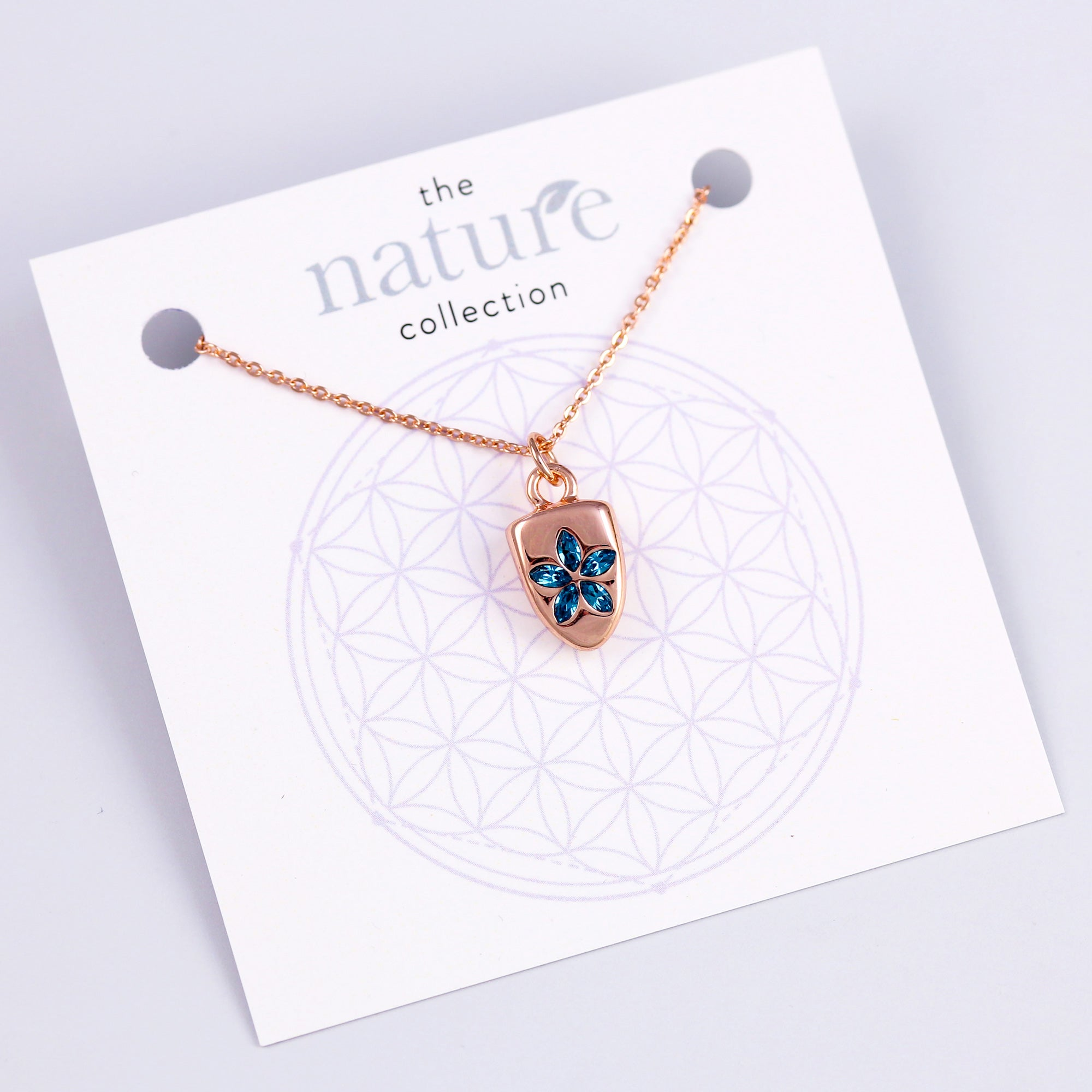 Rose Gold Blue Flower Necklace Nature Collection