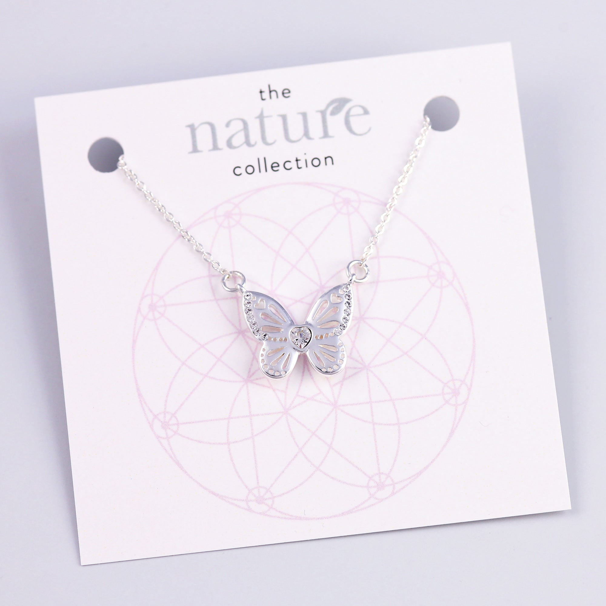 Silver Butterfly Necklace Nature Collection