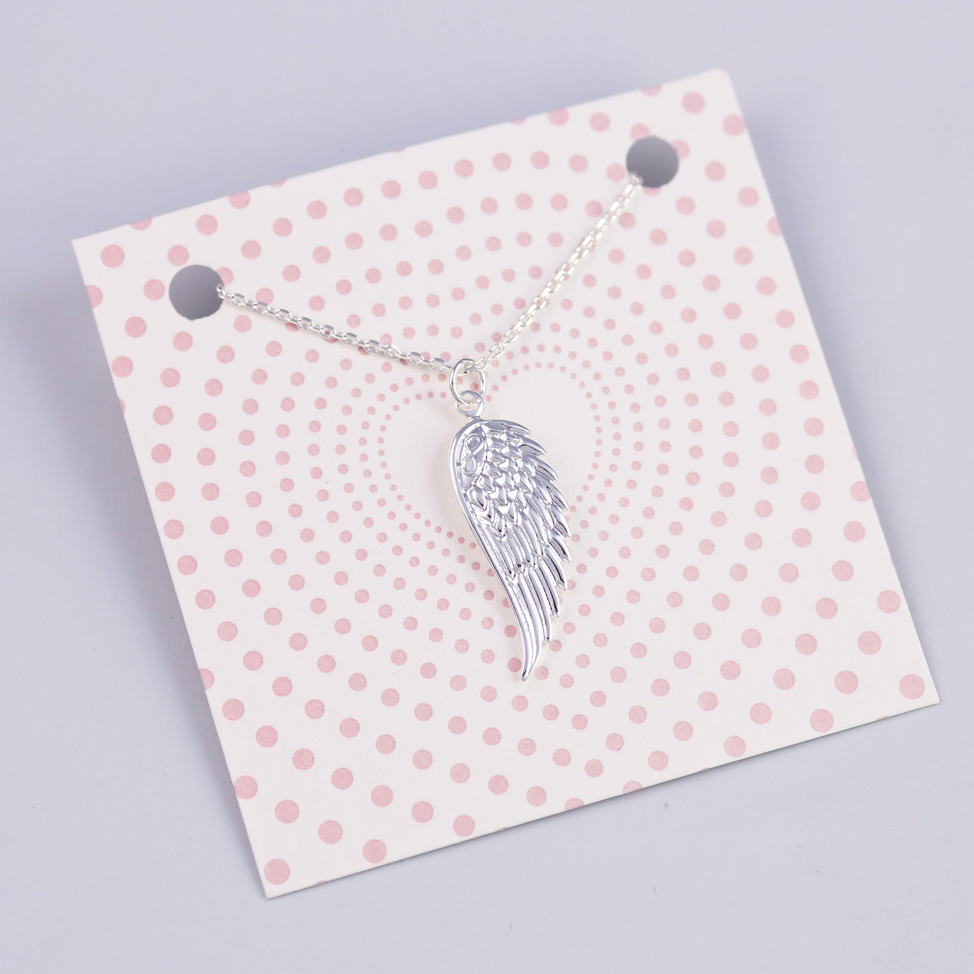 Dotty Heart Card with Silver Angel Wing Necklace