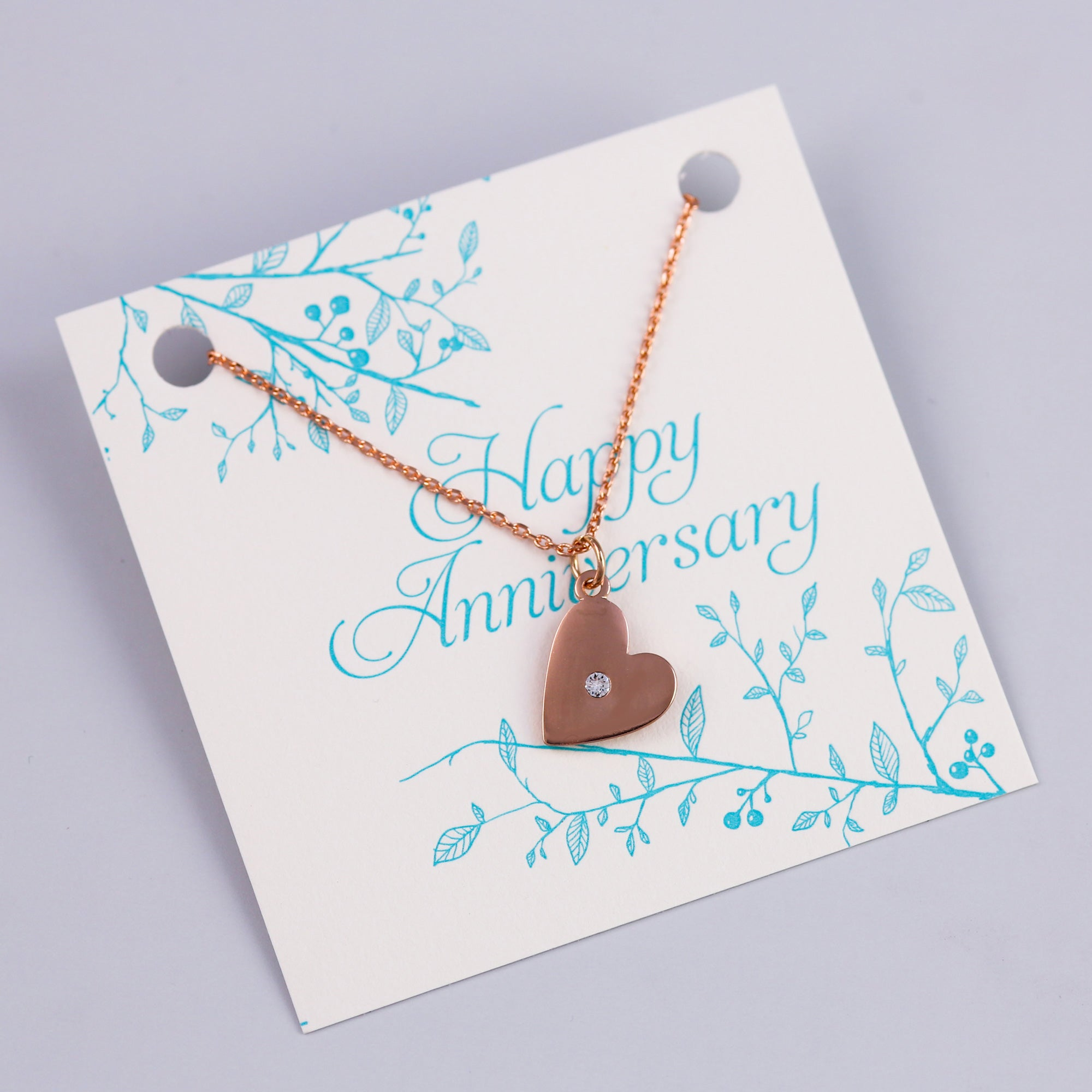 Anniversary Sentiment Card with Rose Gold Heart Necklace