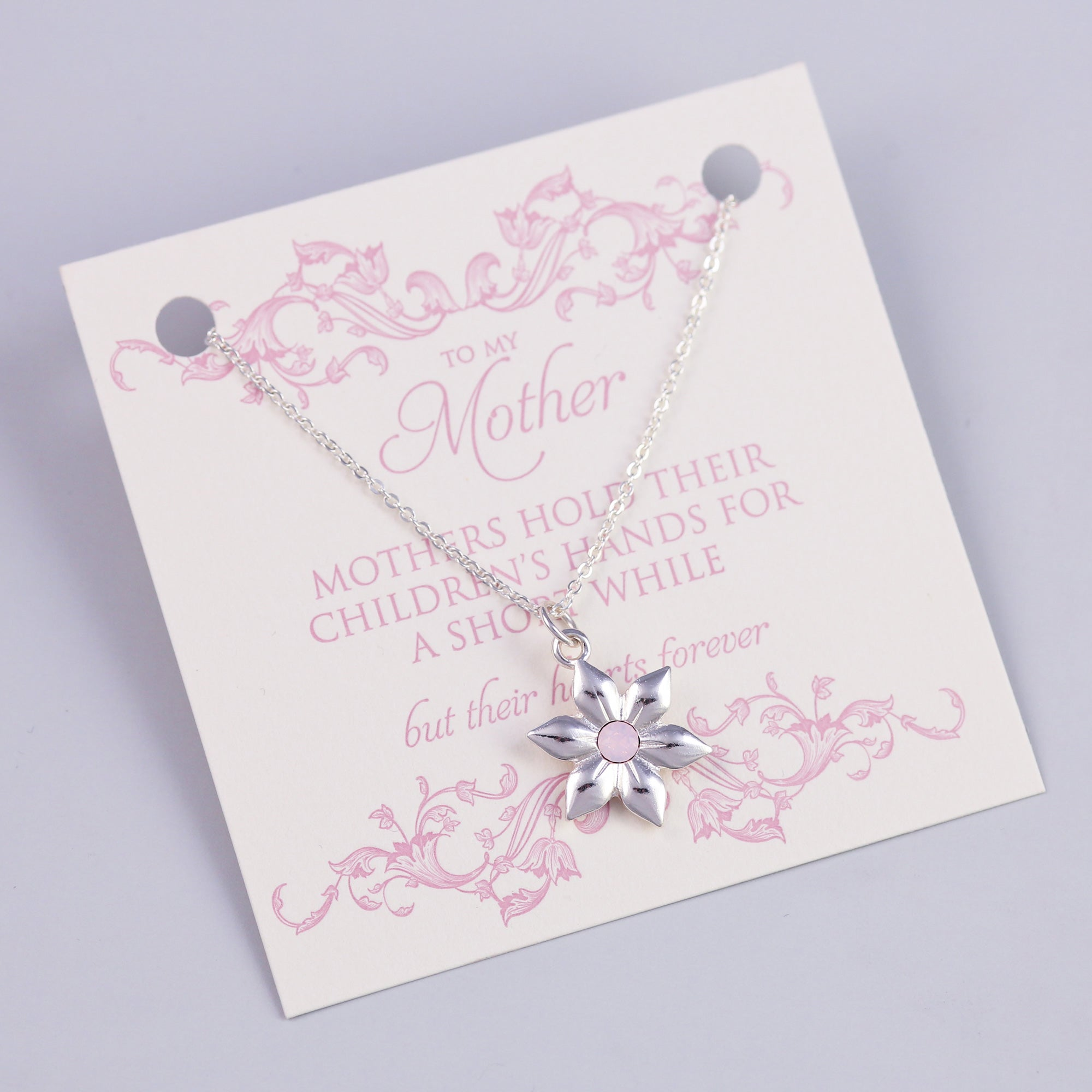 Mother Sentiment Card with Silver Flower Necklace