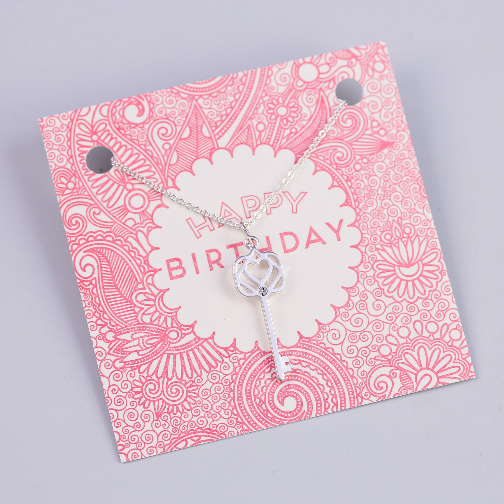 Happy Birthday Sentiment Card with Silver Key Necklace