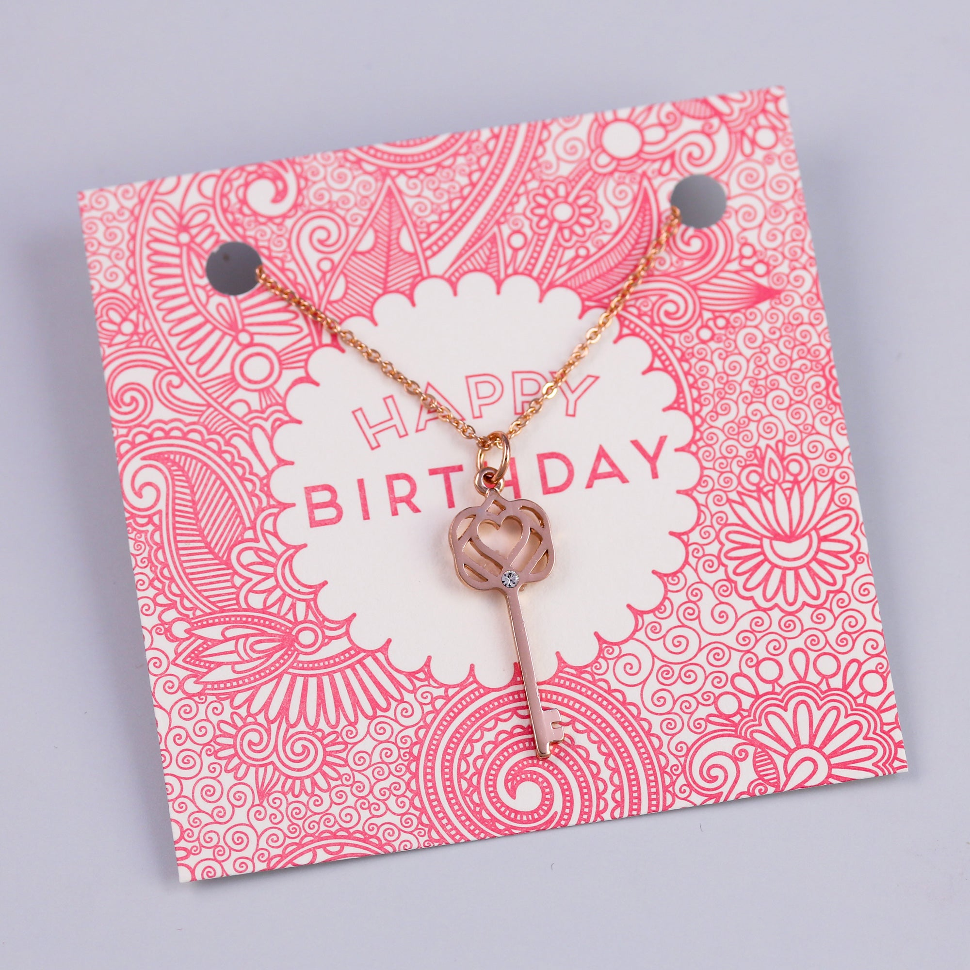 Happy Birthday Sentiment Card with Rose Gold Key Necklace
