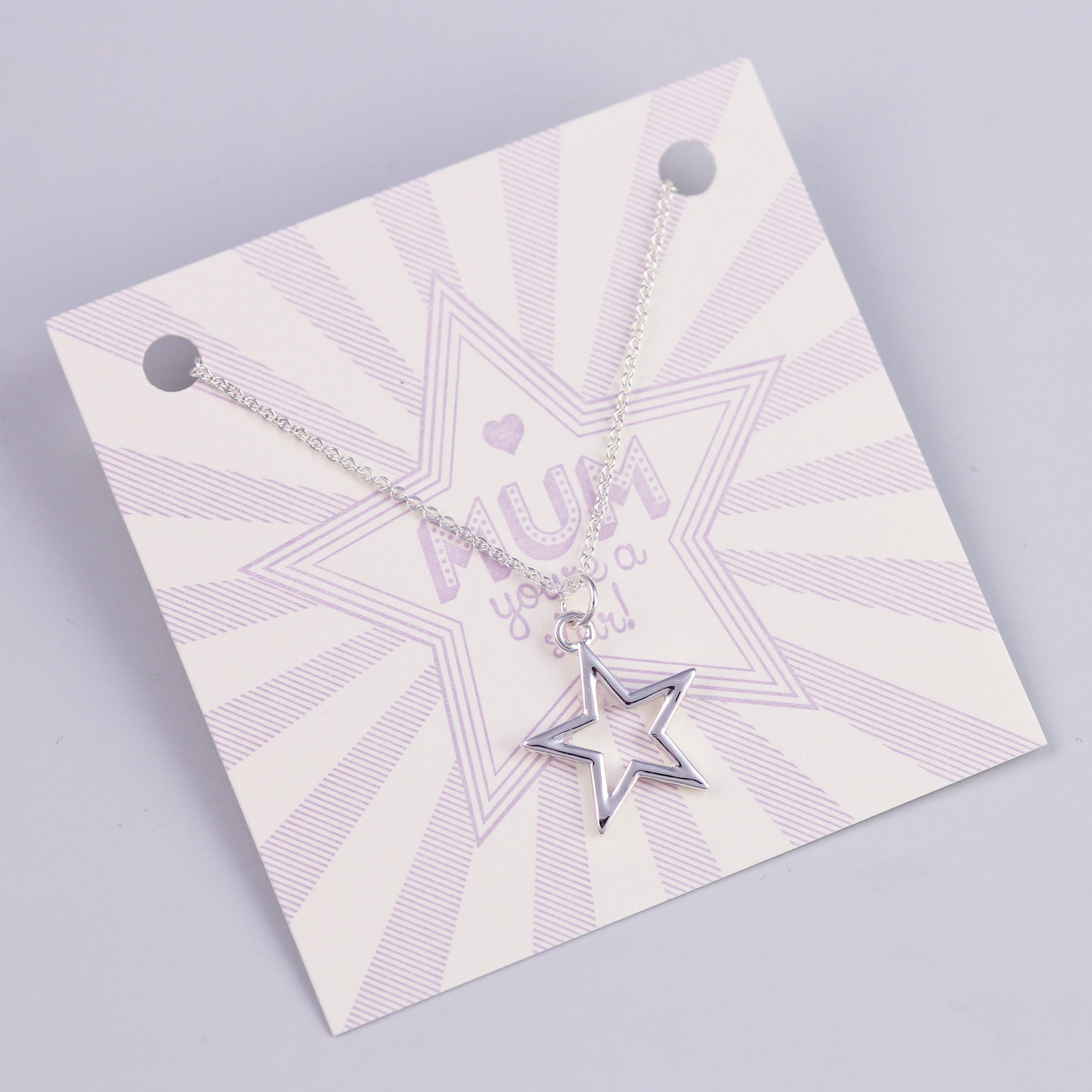 Mum Sentiment Card with Silver Star Necklace