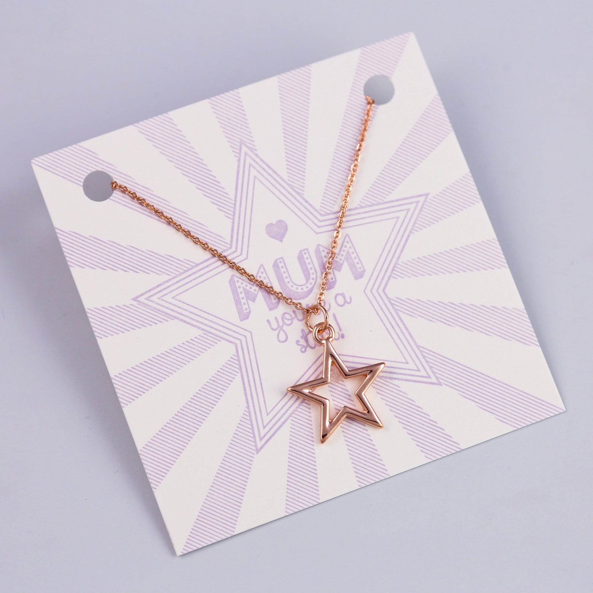 Mum Sentiment Card with Rose Gold Star Necklace