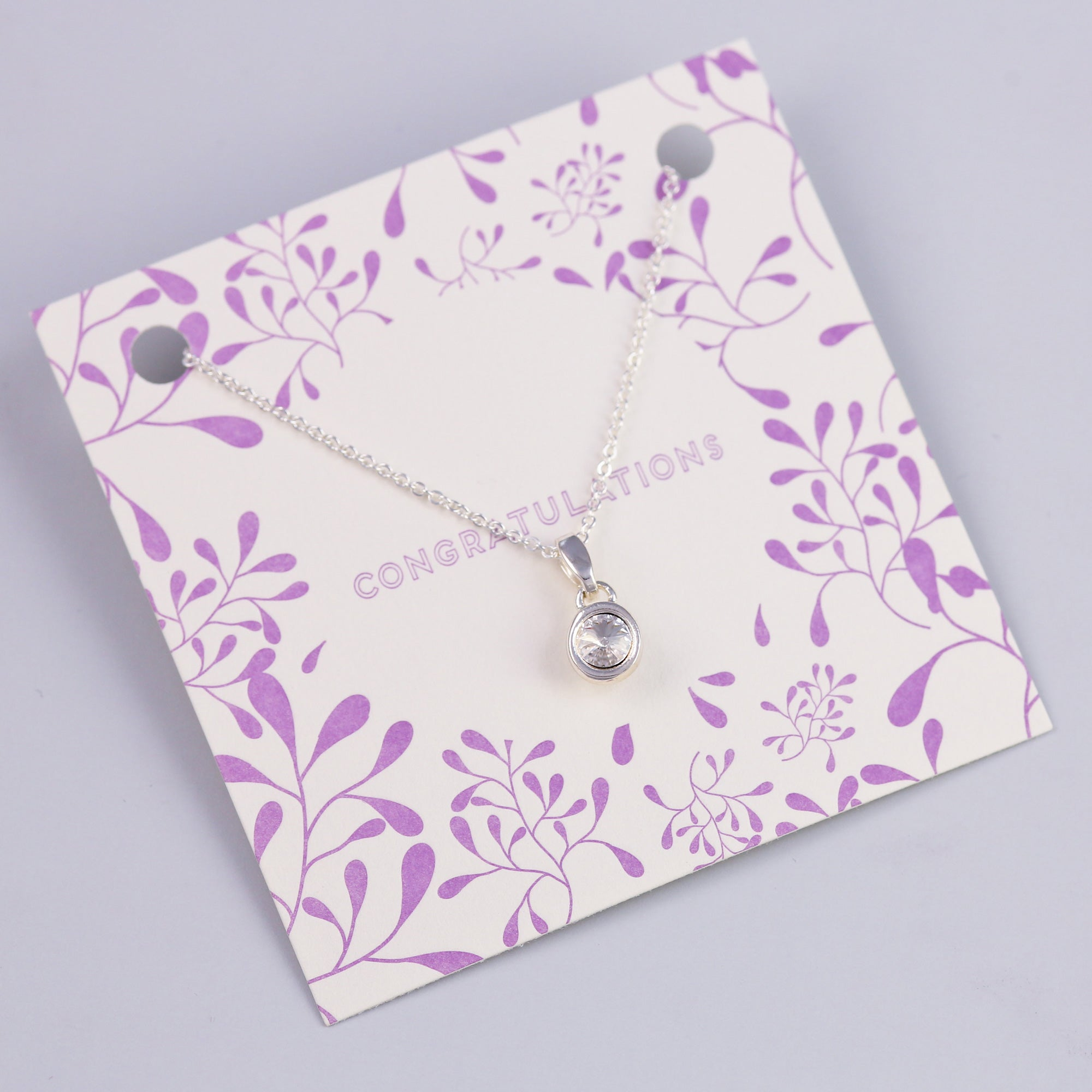 Congratulations Sentiment Card with Silver Small Gemstone