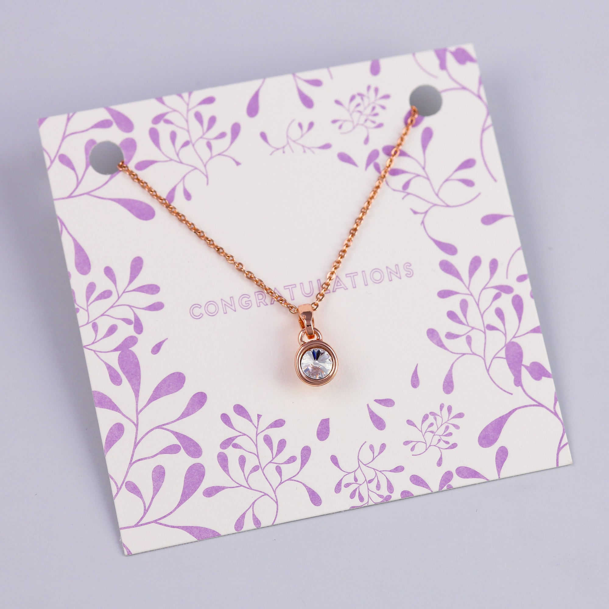 Congratulations Sentiment Card with Rose Gold Small Gemstone