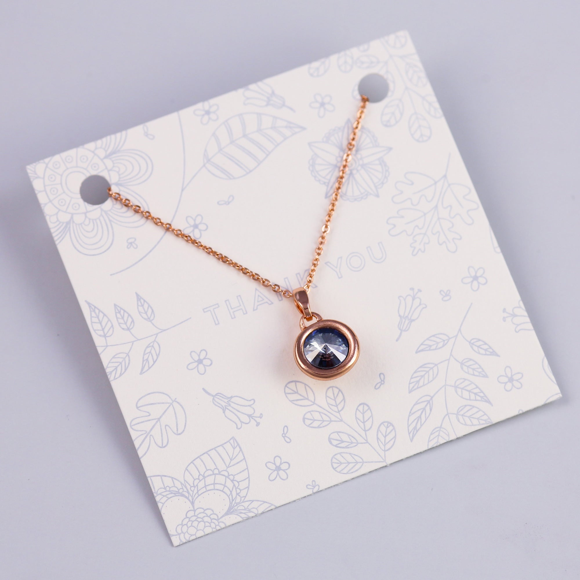Thank You Sentiment Card with Rose Gold Gemstone Charm
