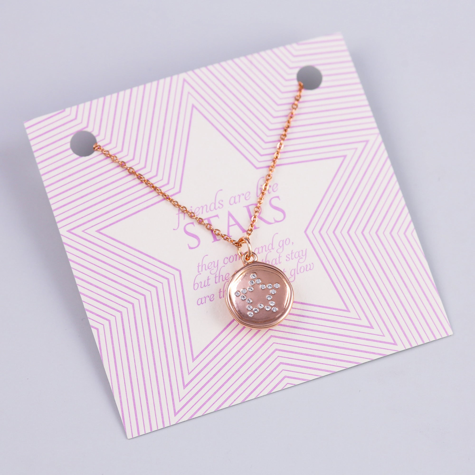 Friends Sentiment Card with Rose Gold Crystal Star Charm