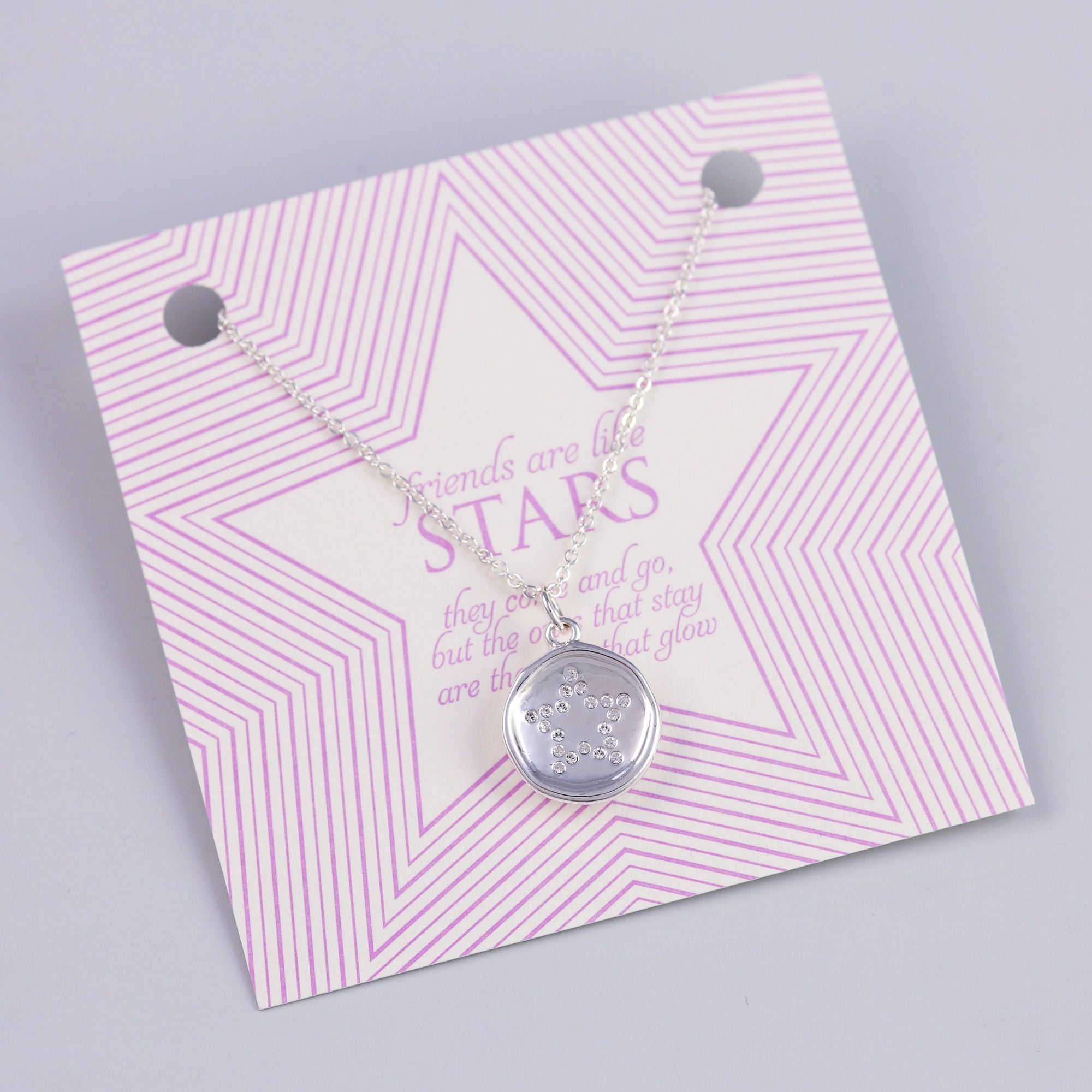 Friends Sentiment Card with Silver Crystal Star Charm