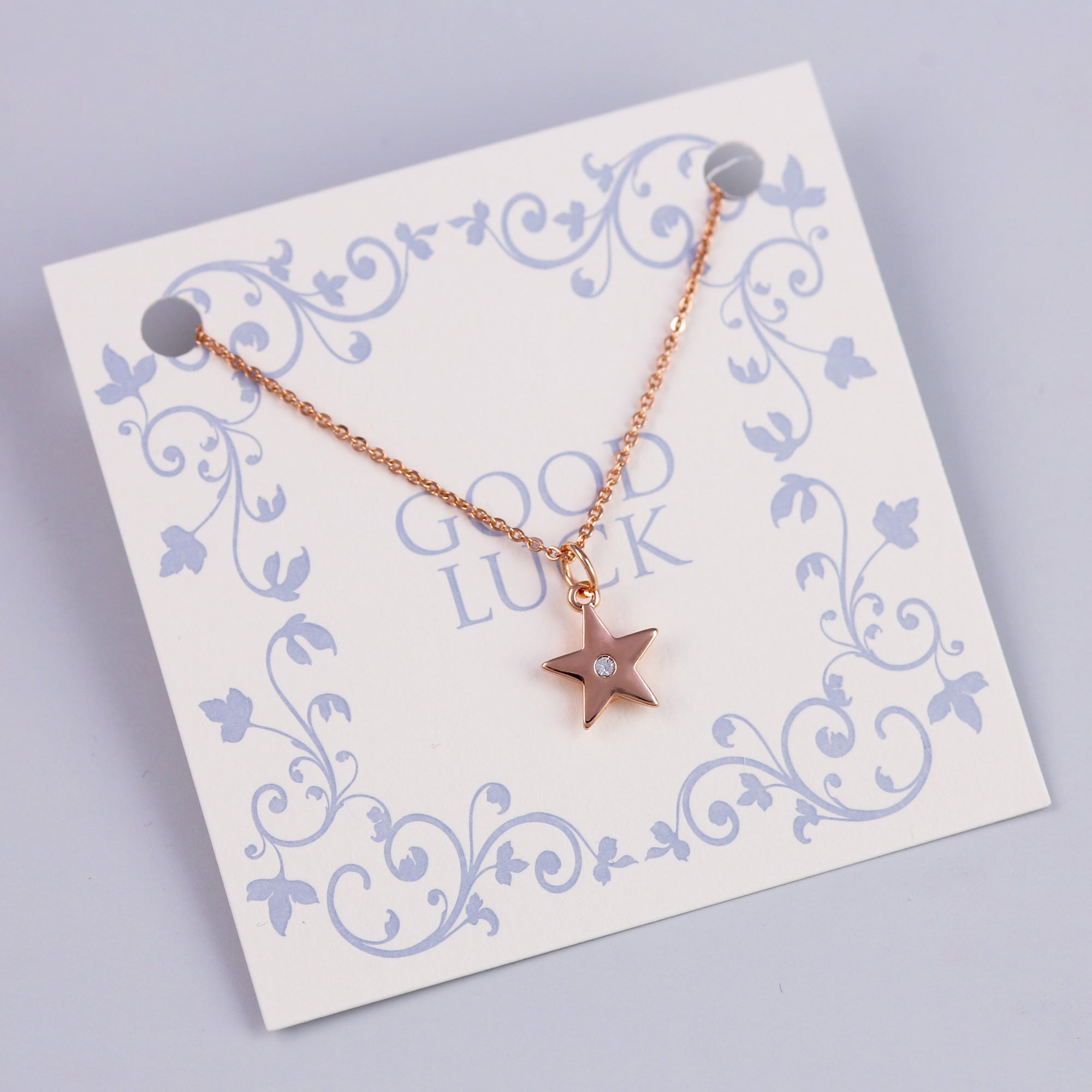 Good Luck Sentiment Card with Rose Gold Crystal Star