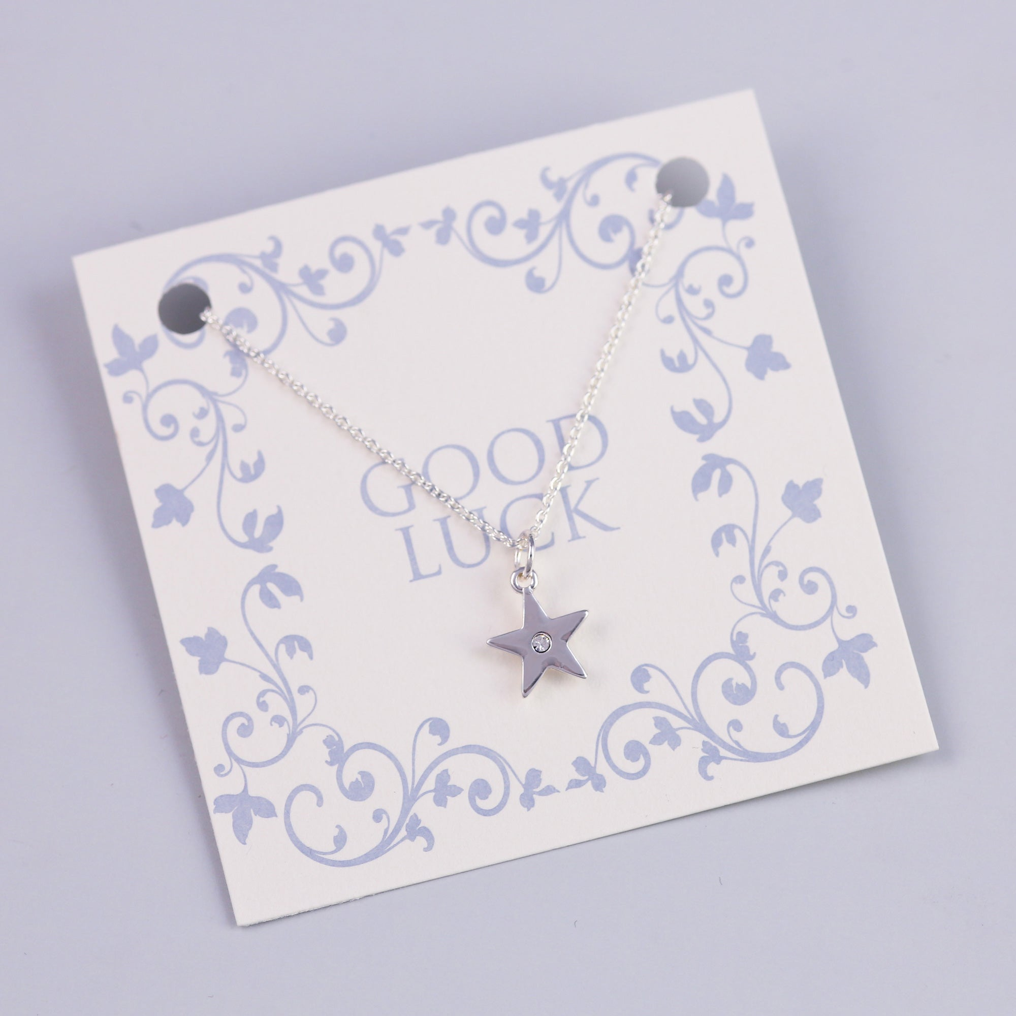 Good Luck Sentiment Card with Silver Crystal Star