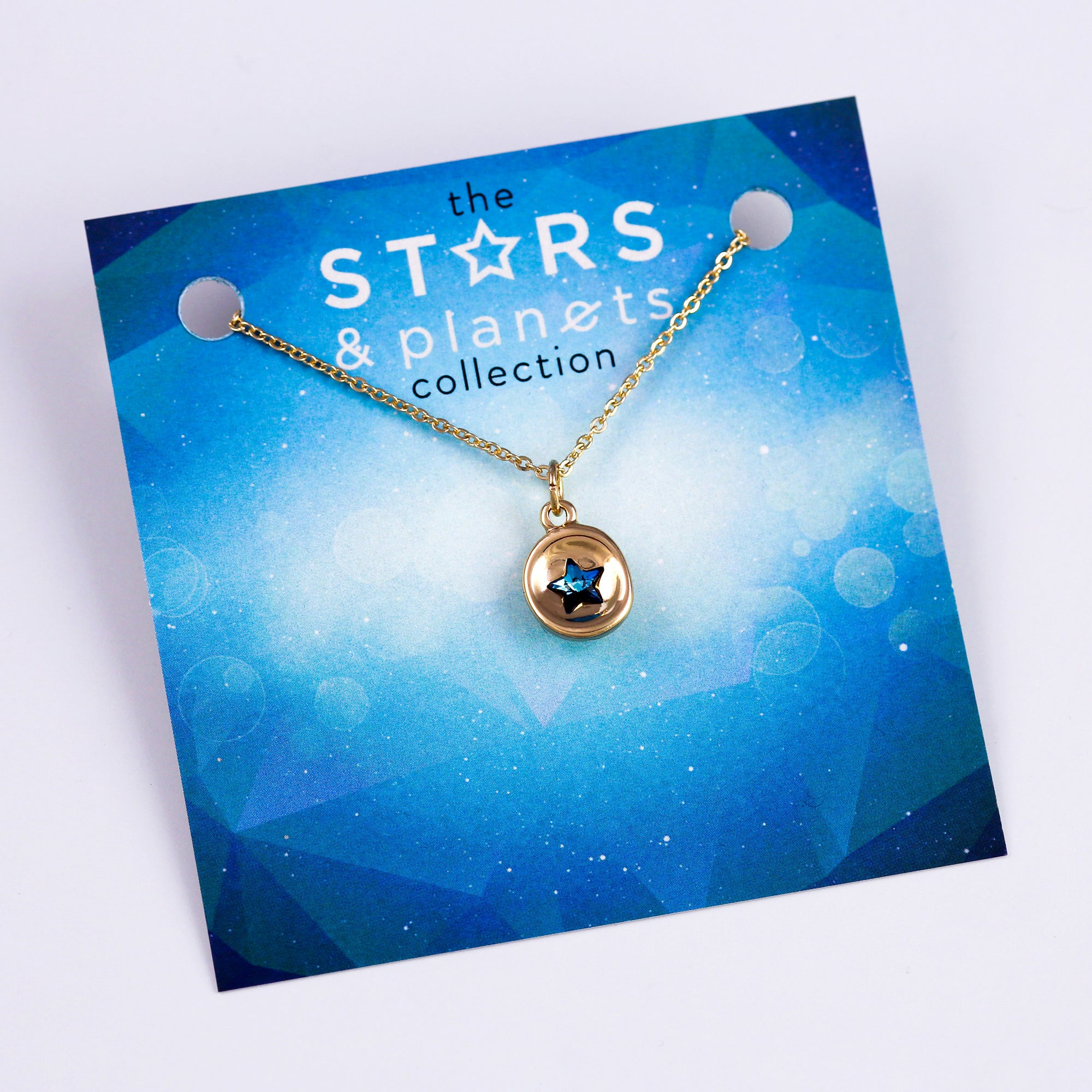 Gold Mini Blue Star Necklace Stars & Planets Collection