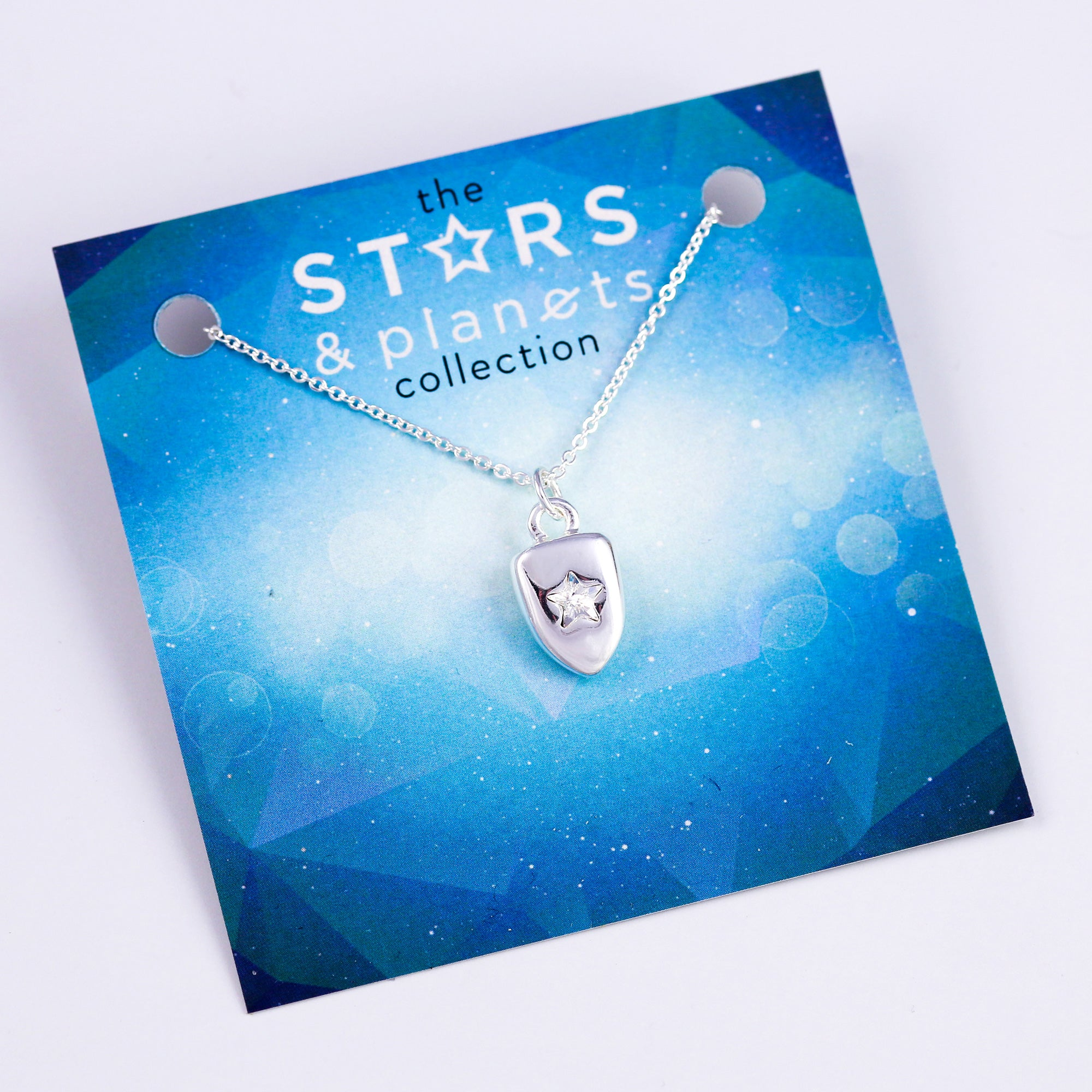 Silver Star Shield Necklace Stars & Planets Collection