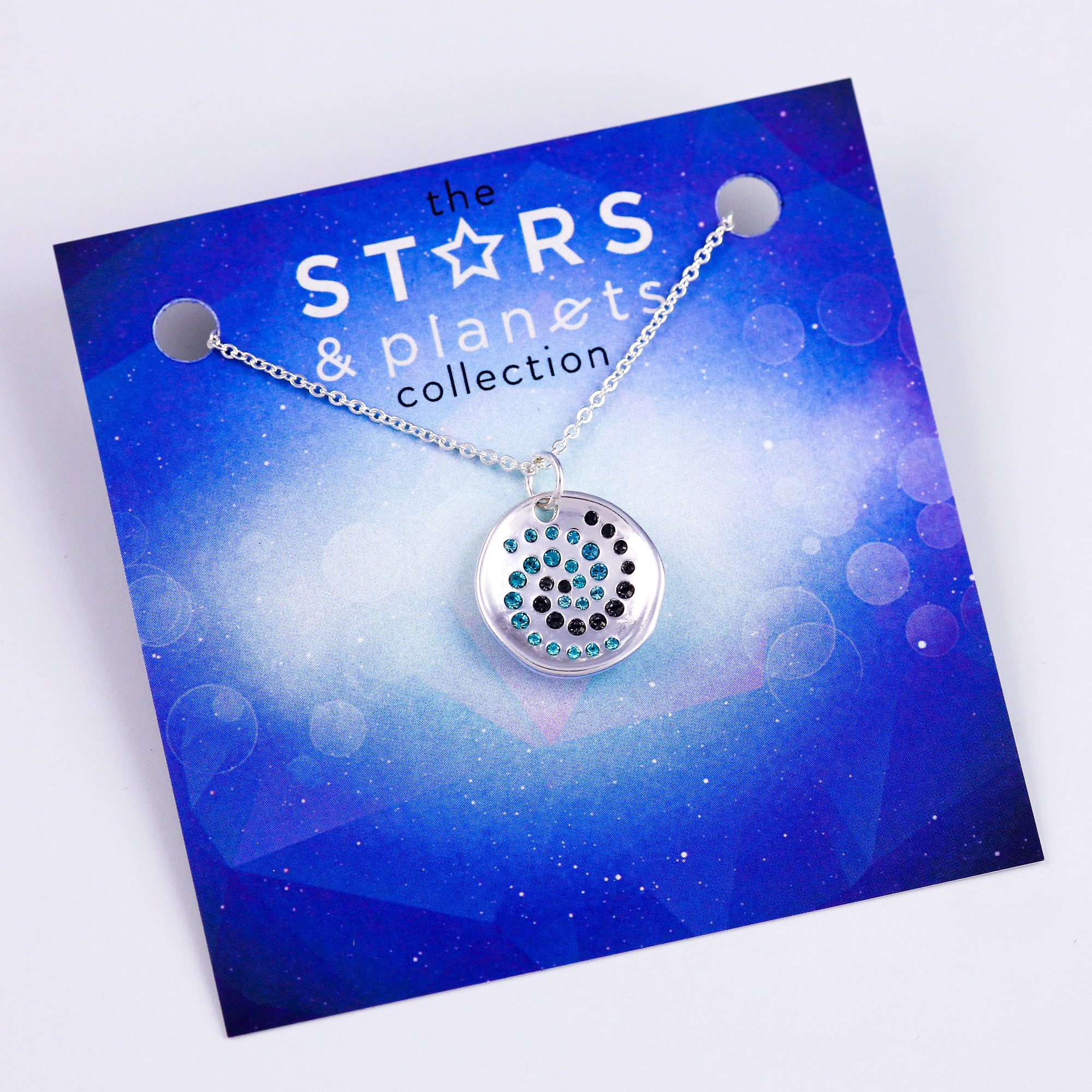 Silver Crystal Cosmos Necklace Stars & Planets Collection