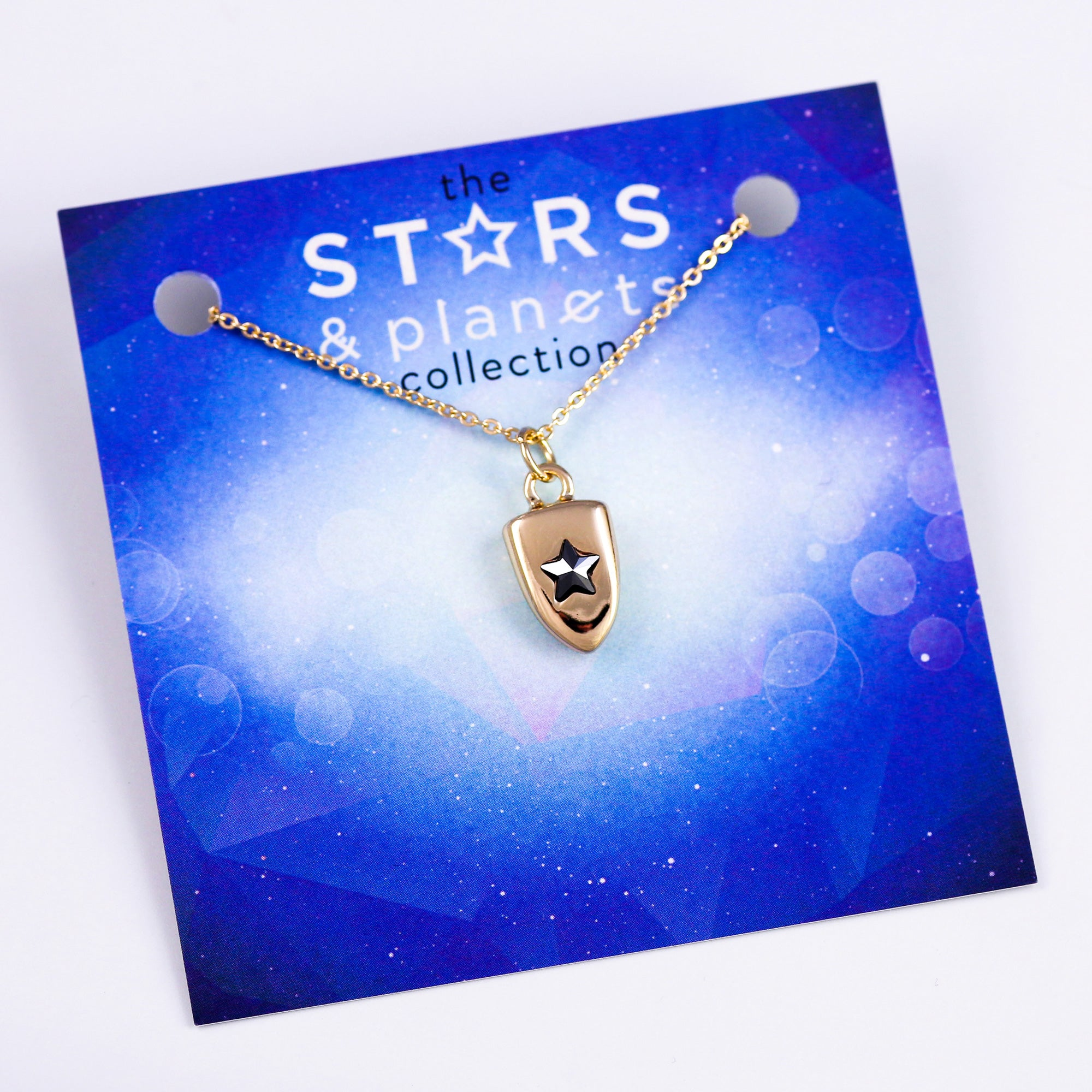 Gold Jet Star Shield Necklace Stars & Planets Collection