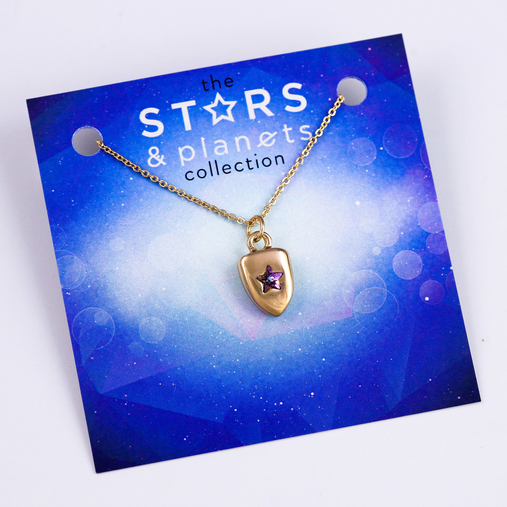 Gold Purple Star Shield Necklace Stars & Planets Collection