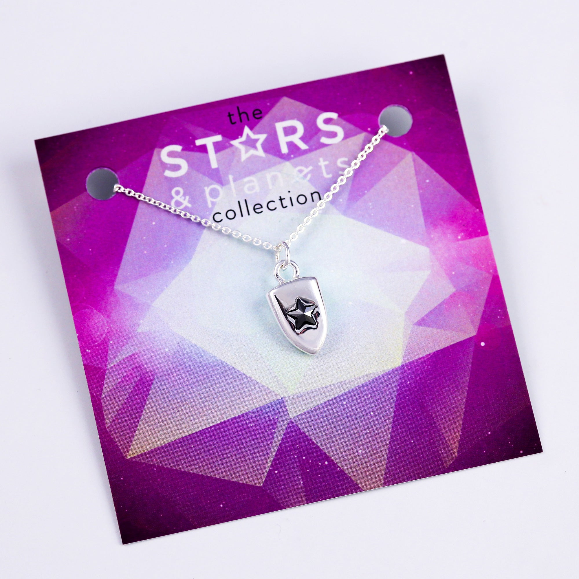 Silver Jet Star Shield Necklace Stars & Planets Collection