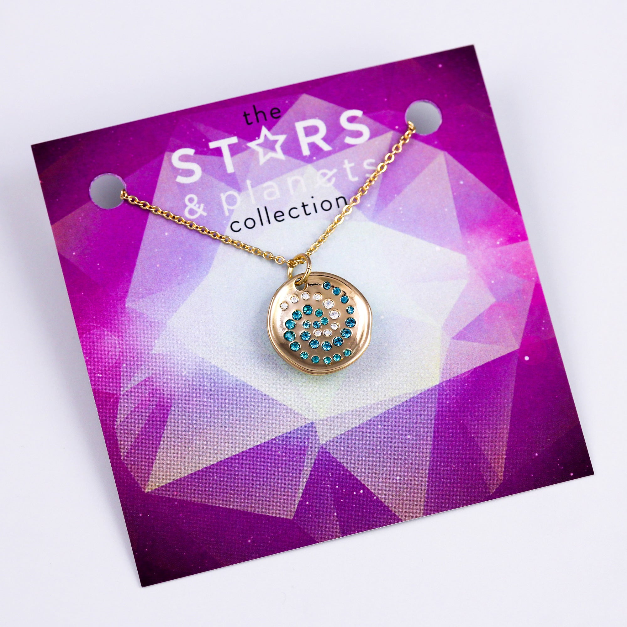 Gold Crystal Cosmos Necklace Stars & Planets Collection