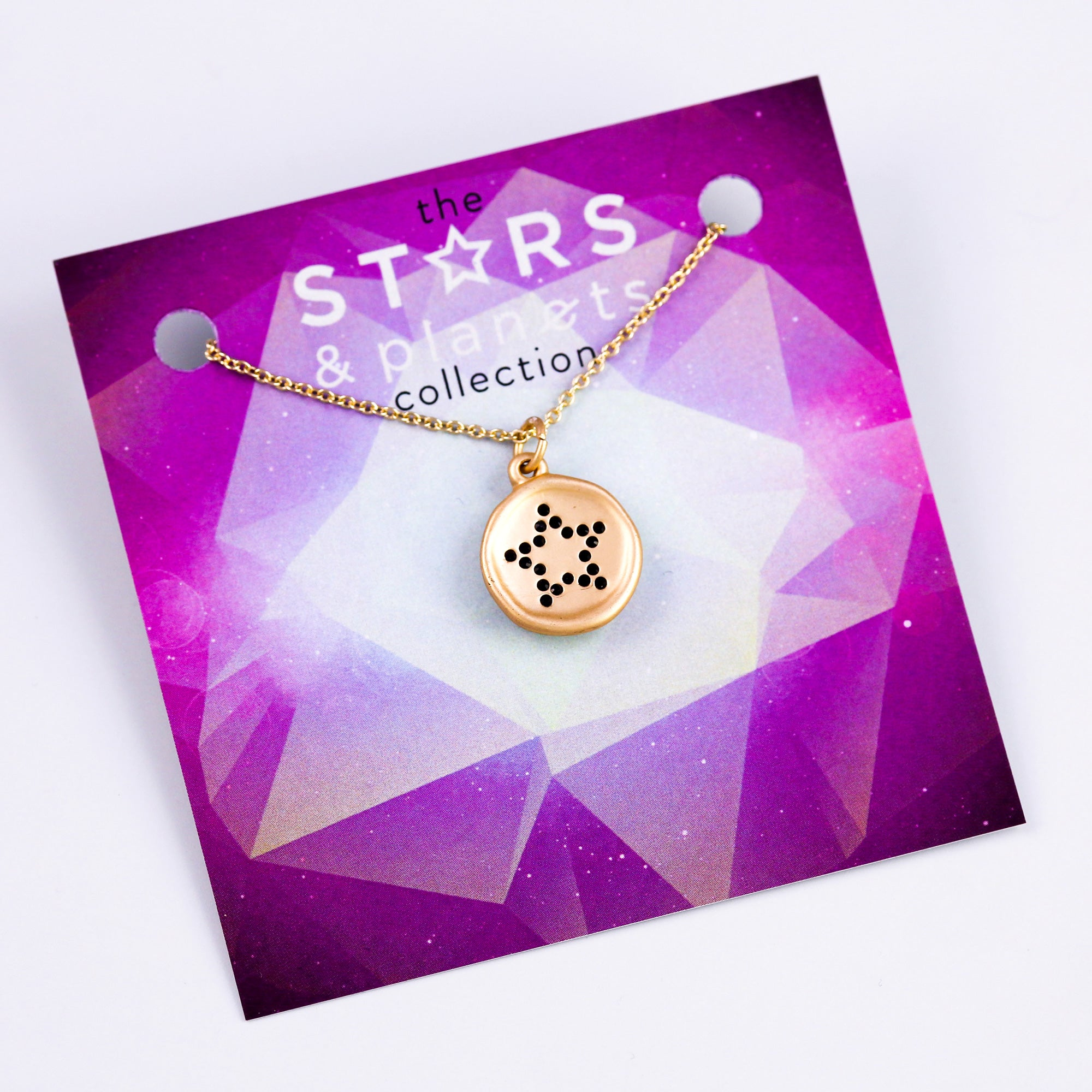 Gold Black Crystal Star Necklace Stars & Planets Collection