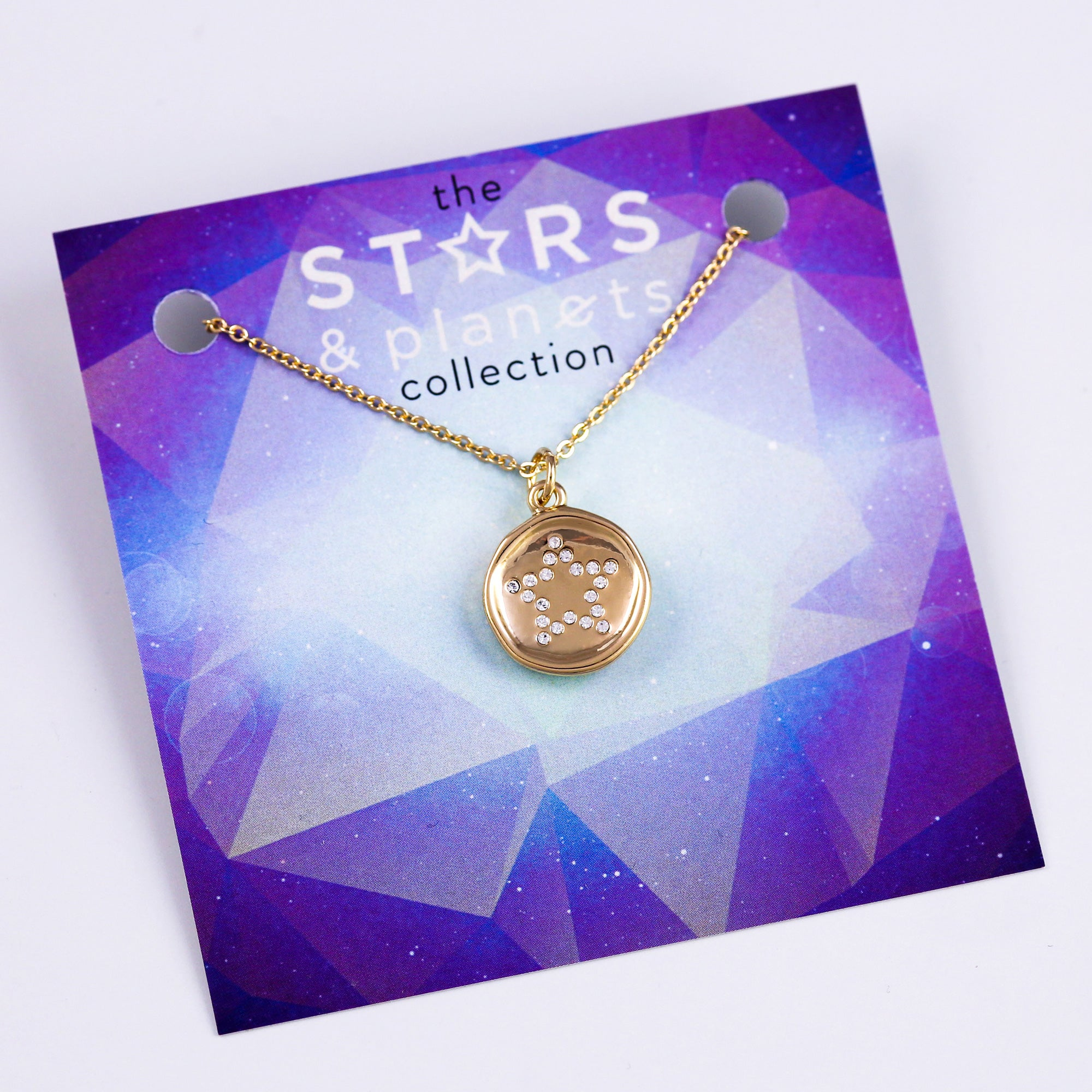 Gold Crystal Star Necklace Stars & Planets Collection