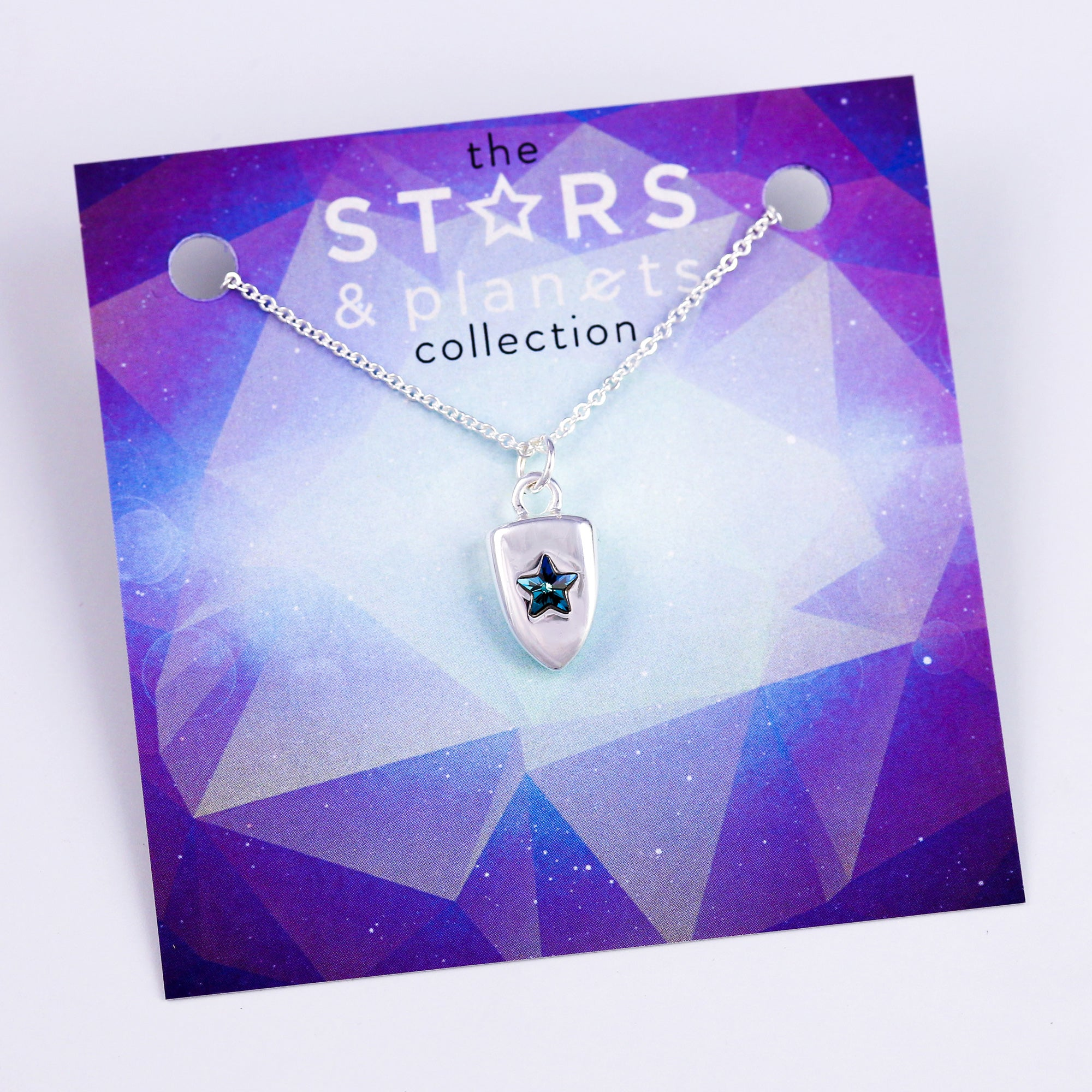 Silver Blue Star Shield Necklace Stars & Planets Collection