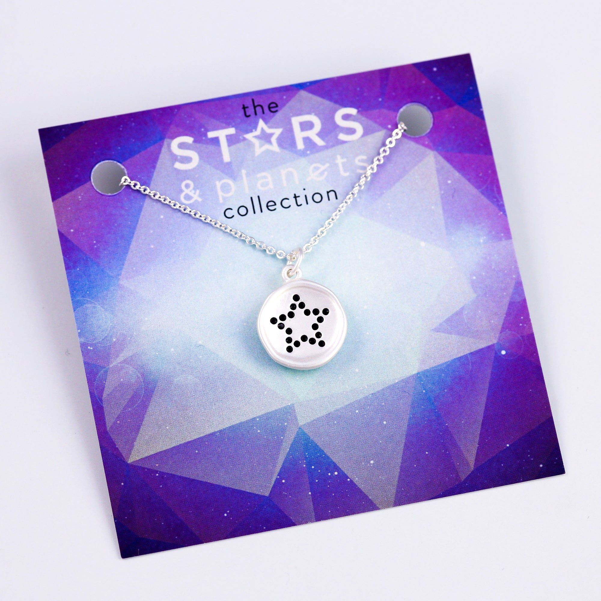 Silver Black Crystal Star Necklace Stars & Planets Collection