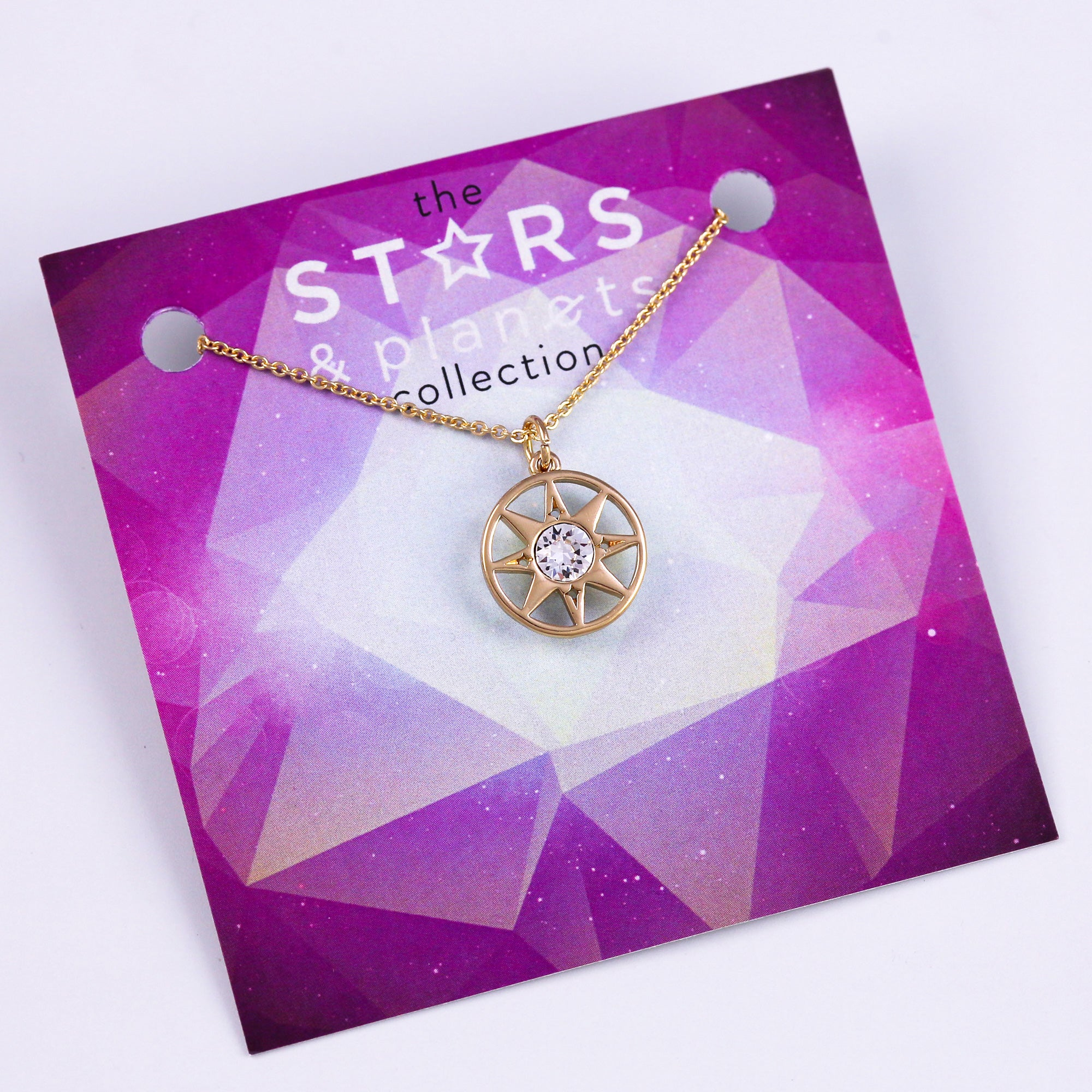Gold Compass Necklace Stars & Planets Collection