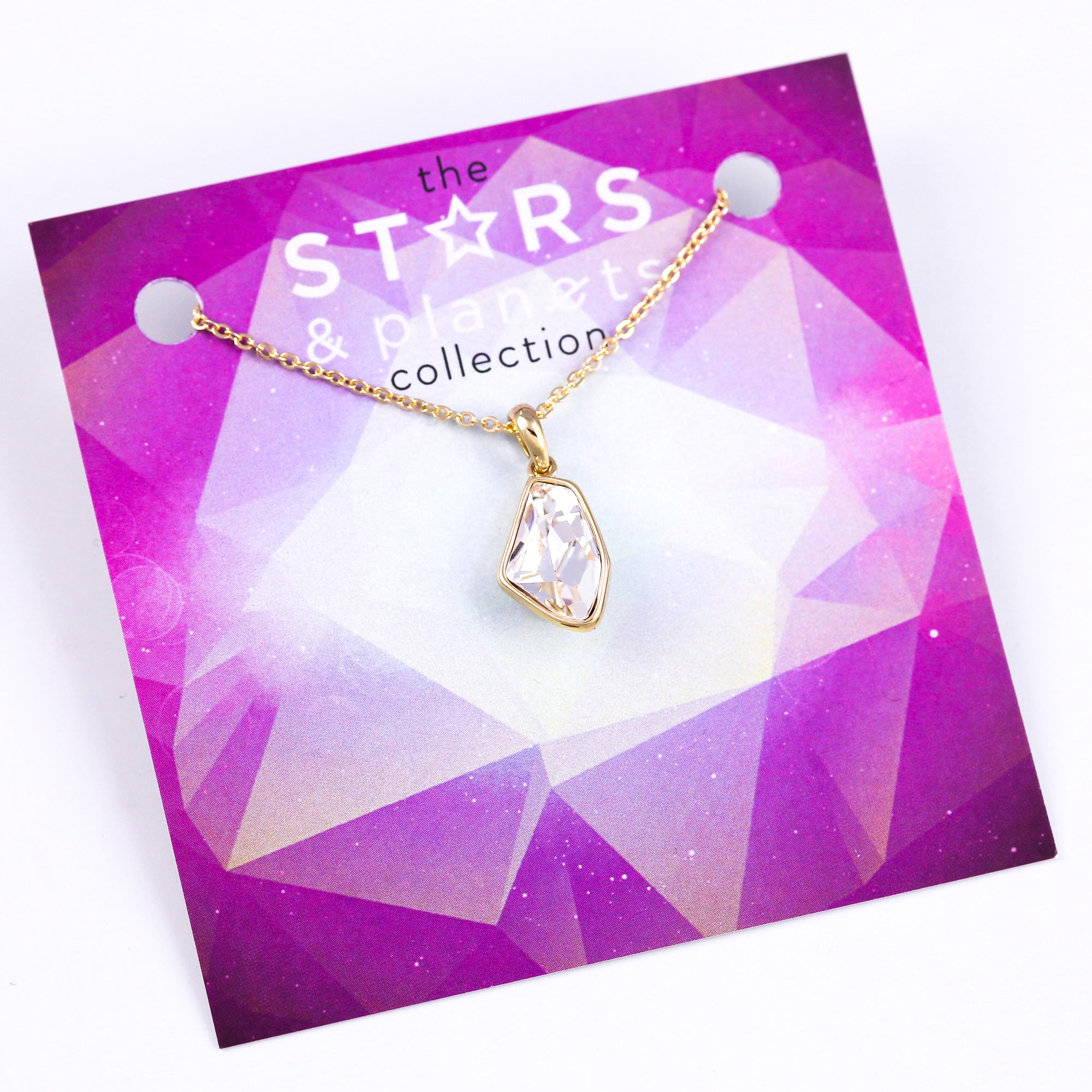 Gold Crystal Asteroid Necklace Stars & Planets Collection