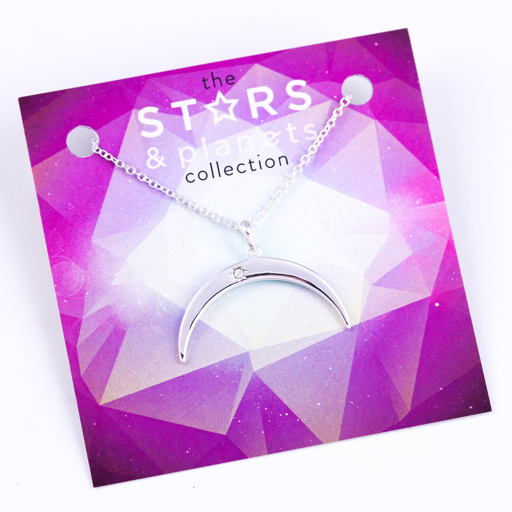 Silver Inverted Moon Necklace Stars & Planets Collection