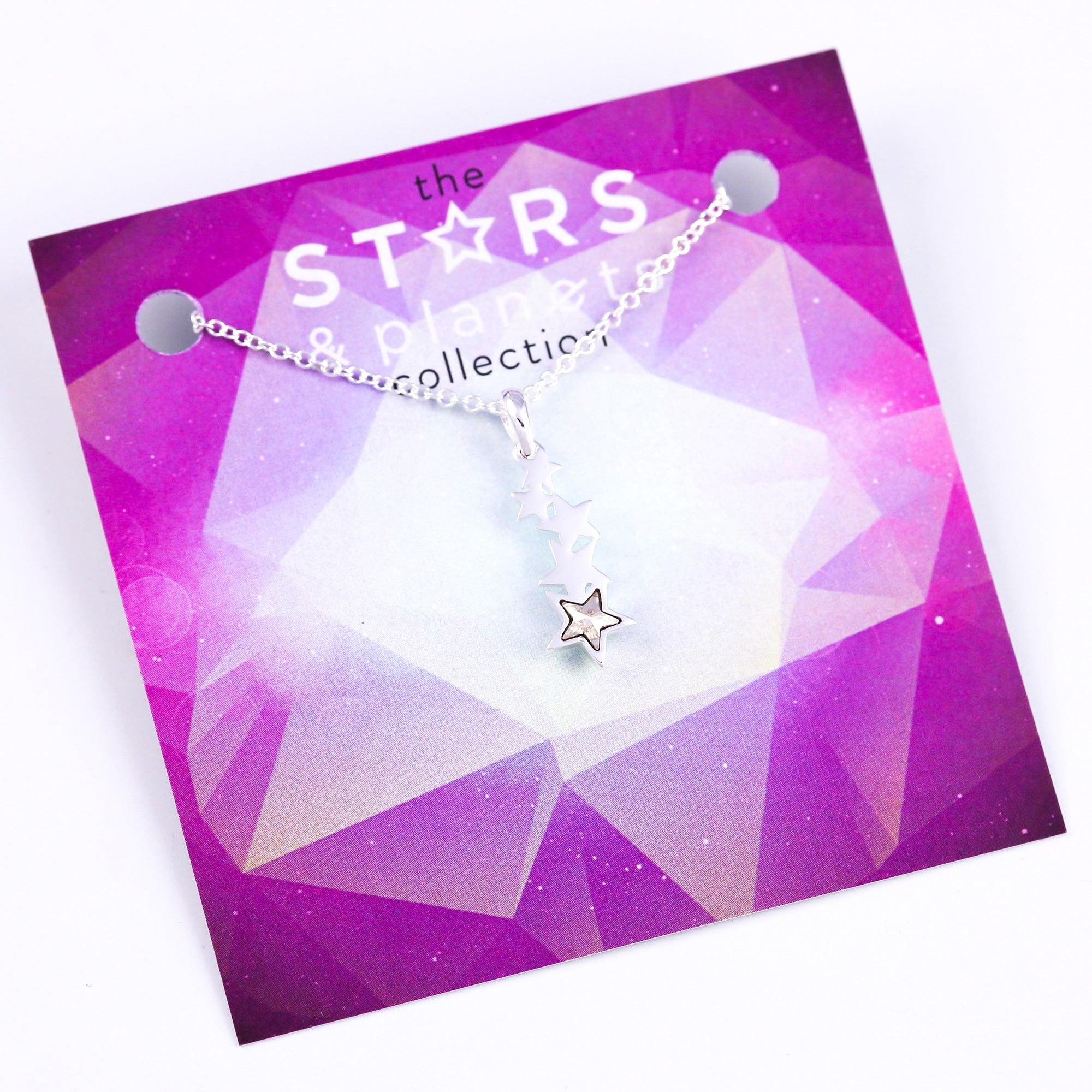 Silver and Crystal Shooting Star Necklace Stars & Planets Collection