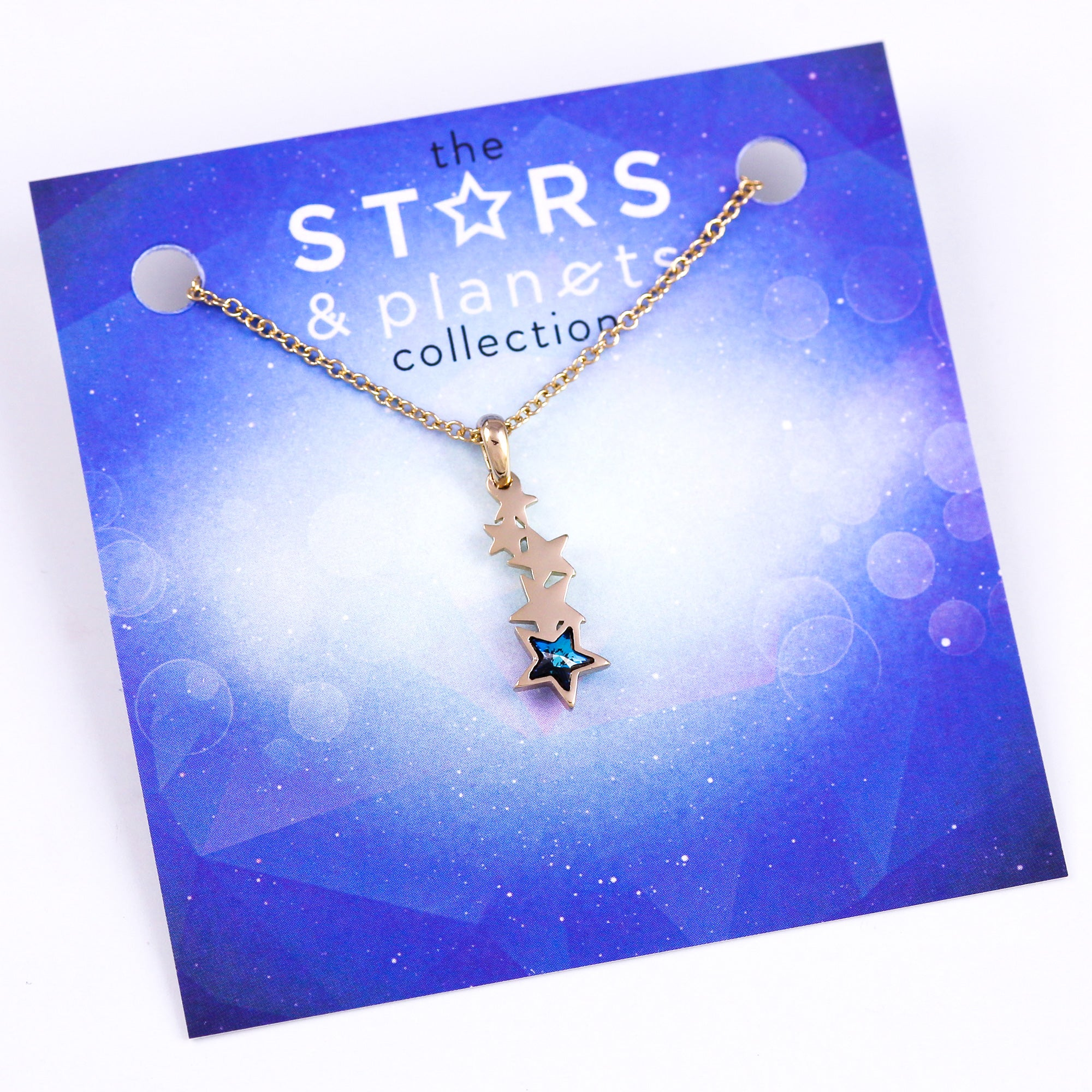 Gold and Blue Shooting Star Necklace Stars & Planets Collection