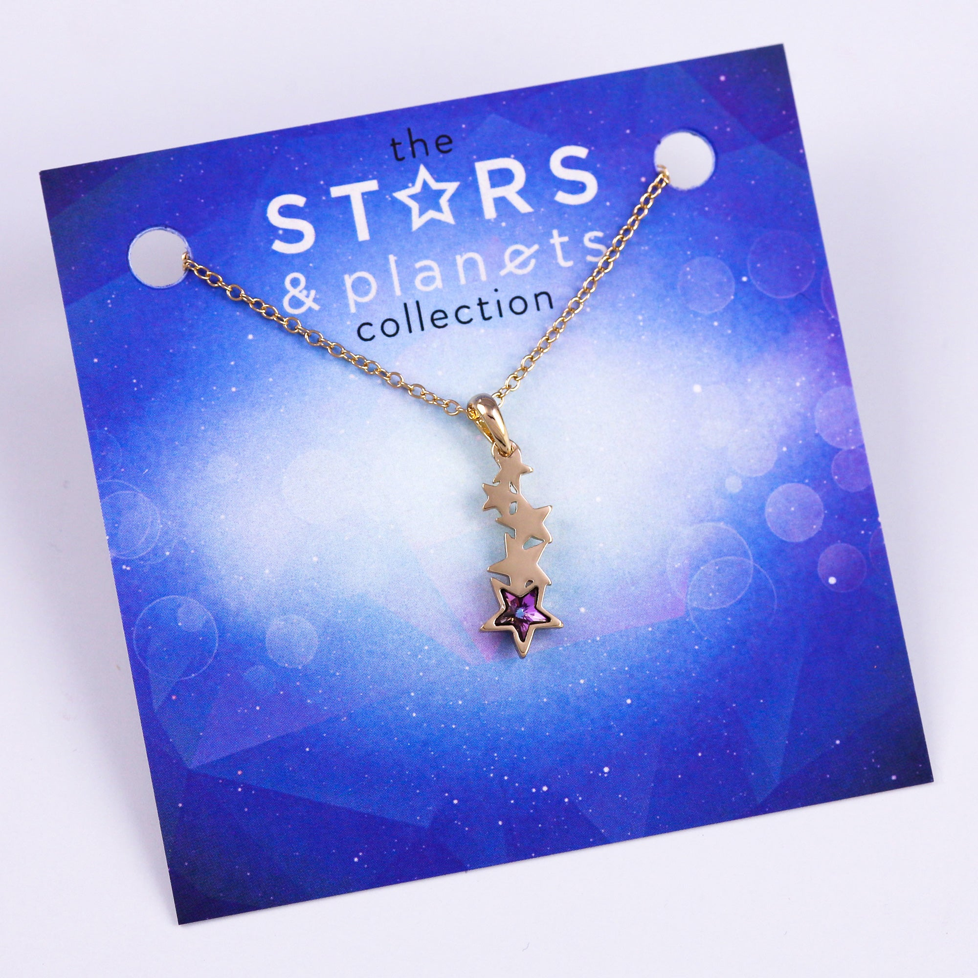Gold and Purple Shooting Star Necklace Stars & Planets Collection