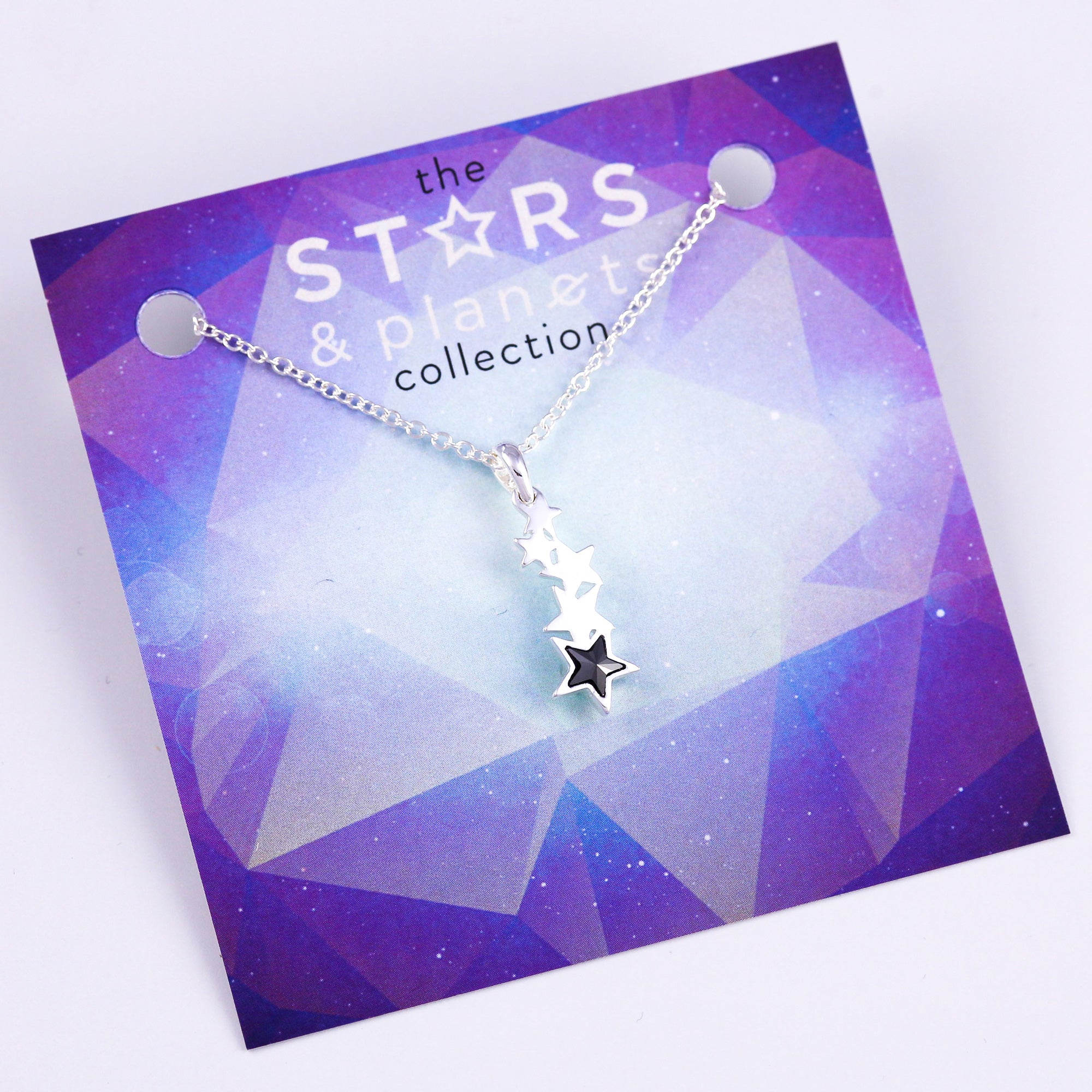 Silver and Black Shooting Star Necklace Stars & Planets Collection