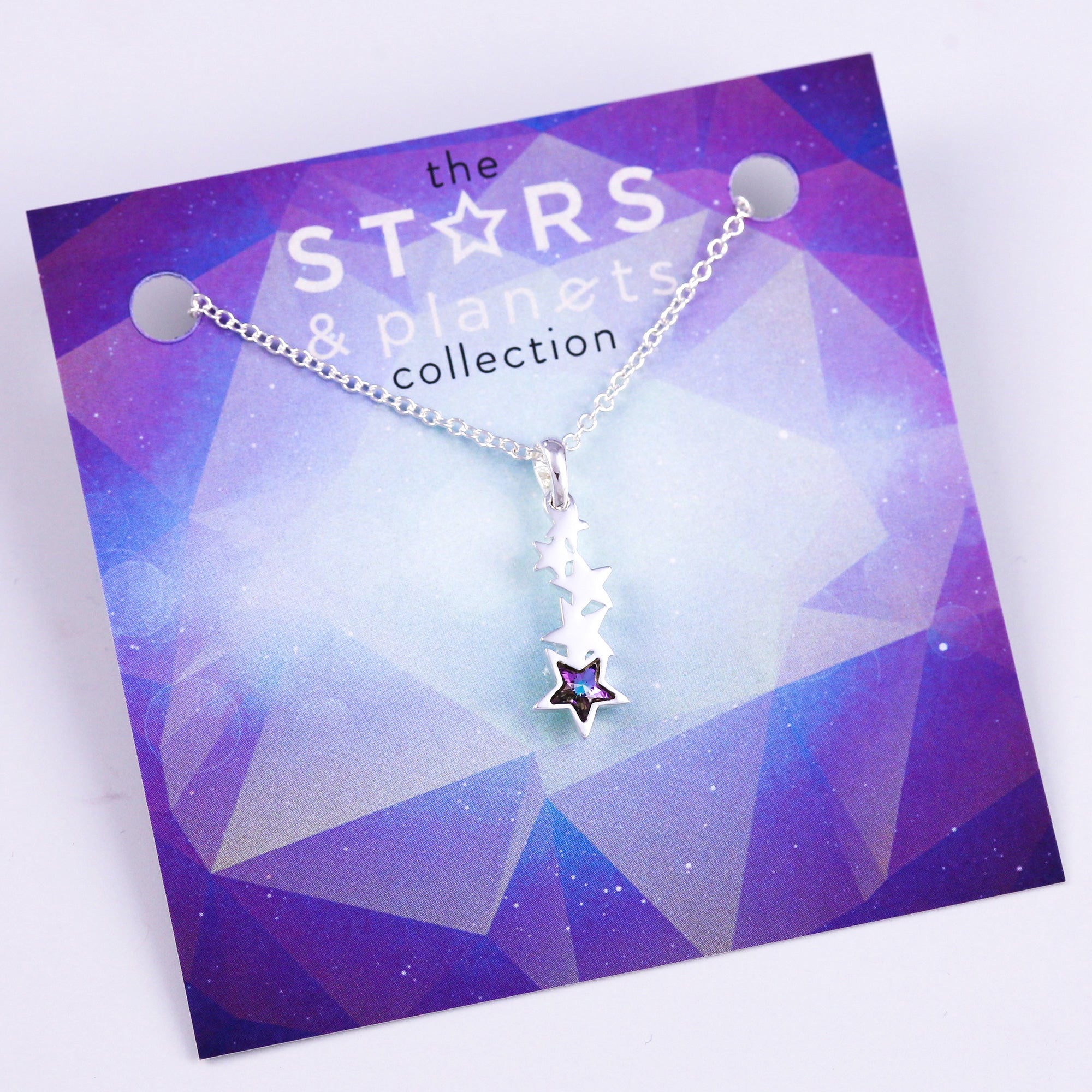 Silver and Purple Shooting Star Necklace Stars & Planets Collection