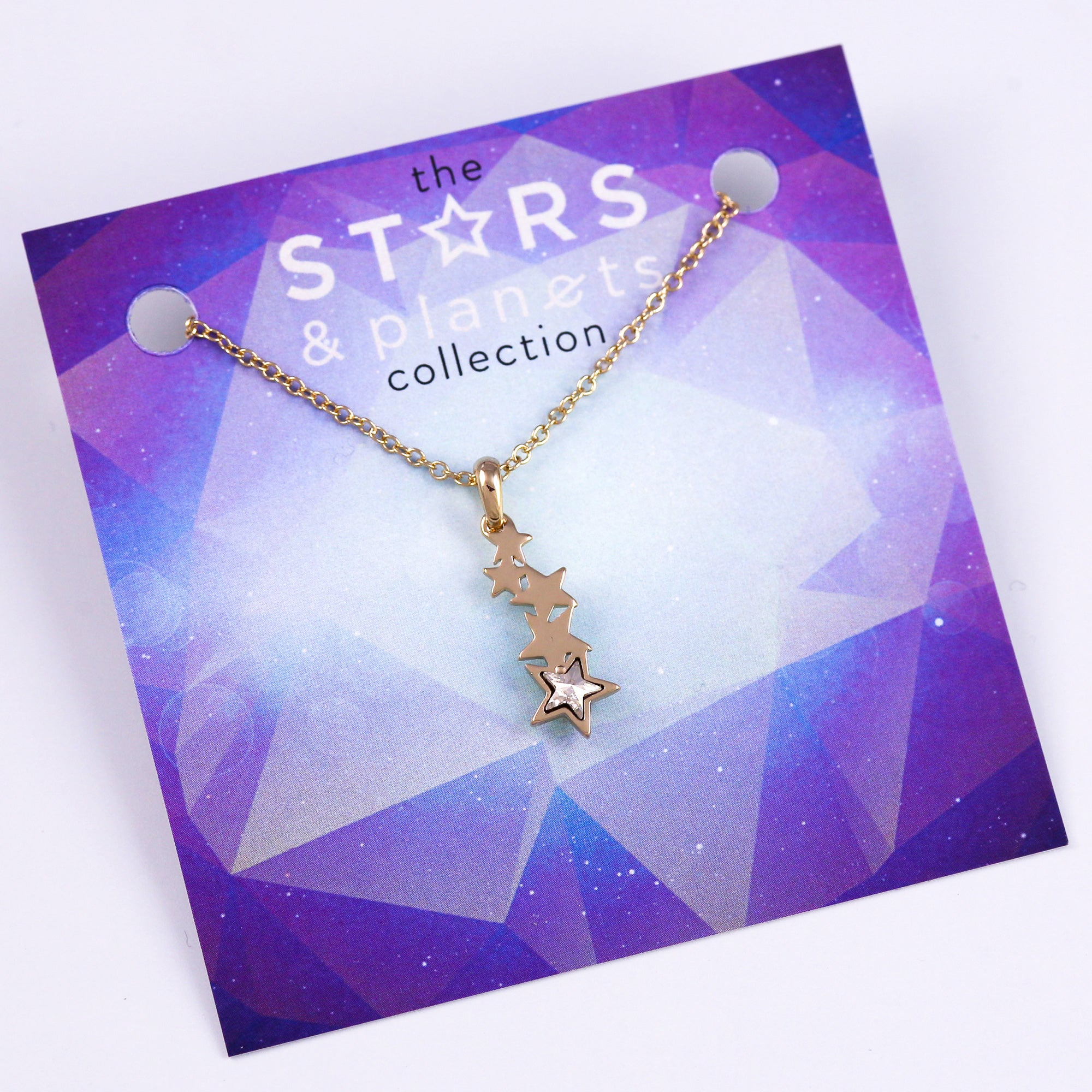 Gold and Crystal Shooting Star Necklace Stars & Planets Collection